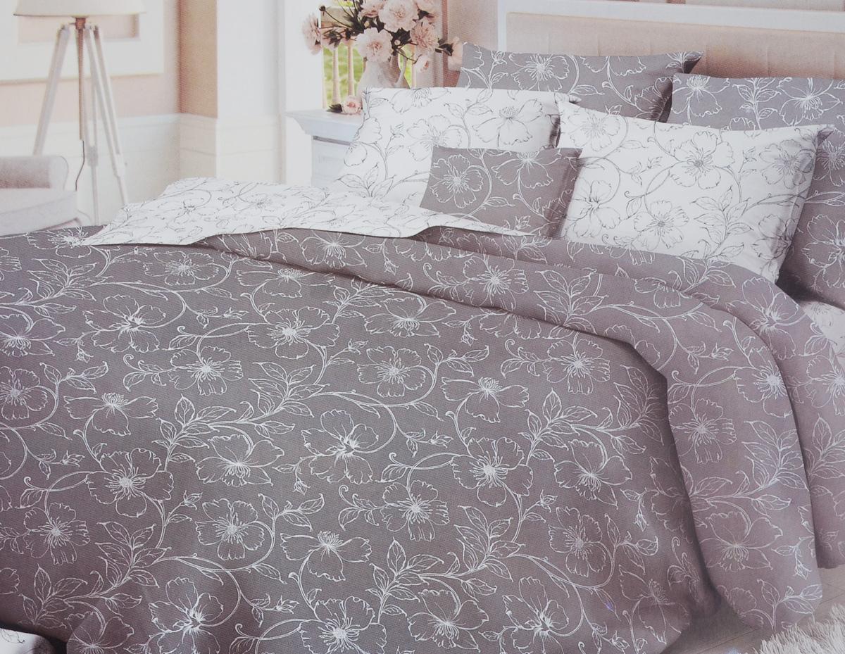 Комплект белья Verossa Tiffany, 2-спальный, наволочки 50x70, цвет: белый, серый