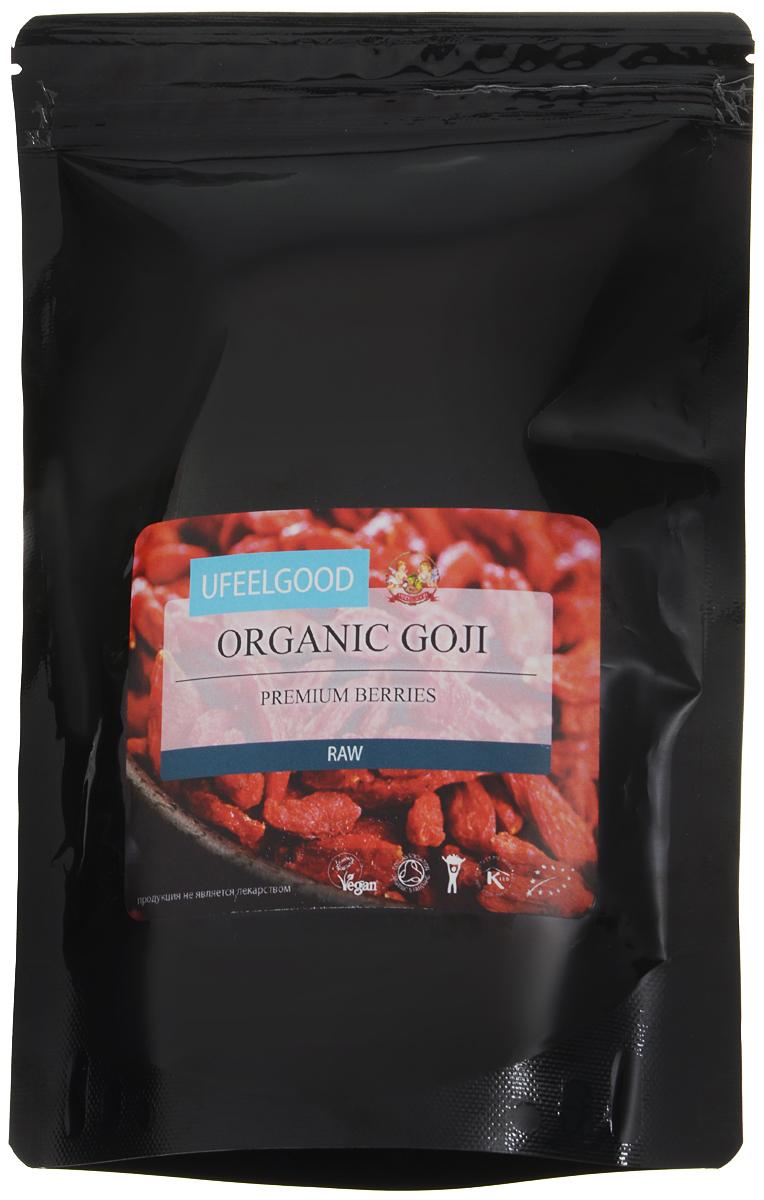 UFEELGOOD Organic Goji Premium Berry органические ягоды годжи, 200 г60За последнее десятилетие ягоды годжи приобрели небывалую популярность, их включают в свой рацион все, кто заботится о здоровом и полноценном питании. Этим продуктом легко дополнять свой ежедневный рацион, вы можете добавить небольшие ягоды в тушеное мясо, фруктовый салат, мюсли или в коктейль.Годжи содержат витамин С, это мощный природный антиоксидант, который предотвращает старение организма и повышает иммунитет. Витамин Е и каротин поддерживает здоровый вид кожи. Высокое содержание полисахаридов делает ягоды годжи жизненно важными в поддержании оптимальной клеточной коммуникации организма.