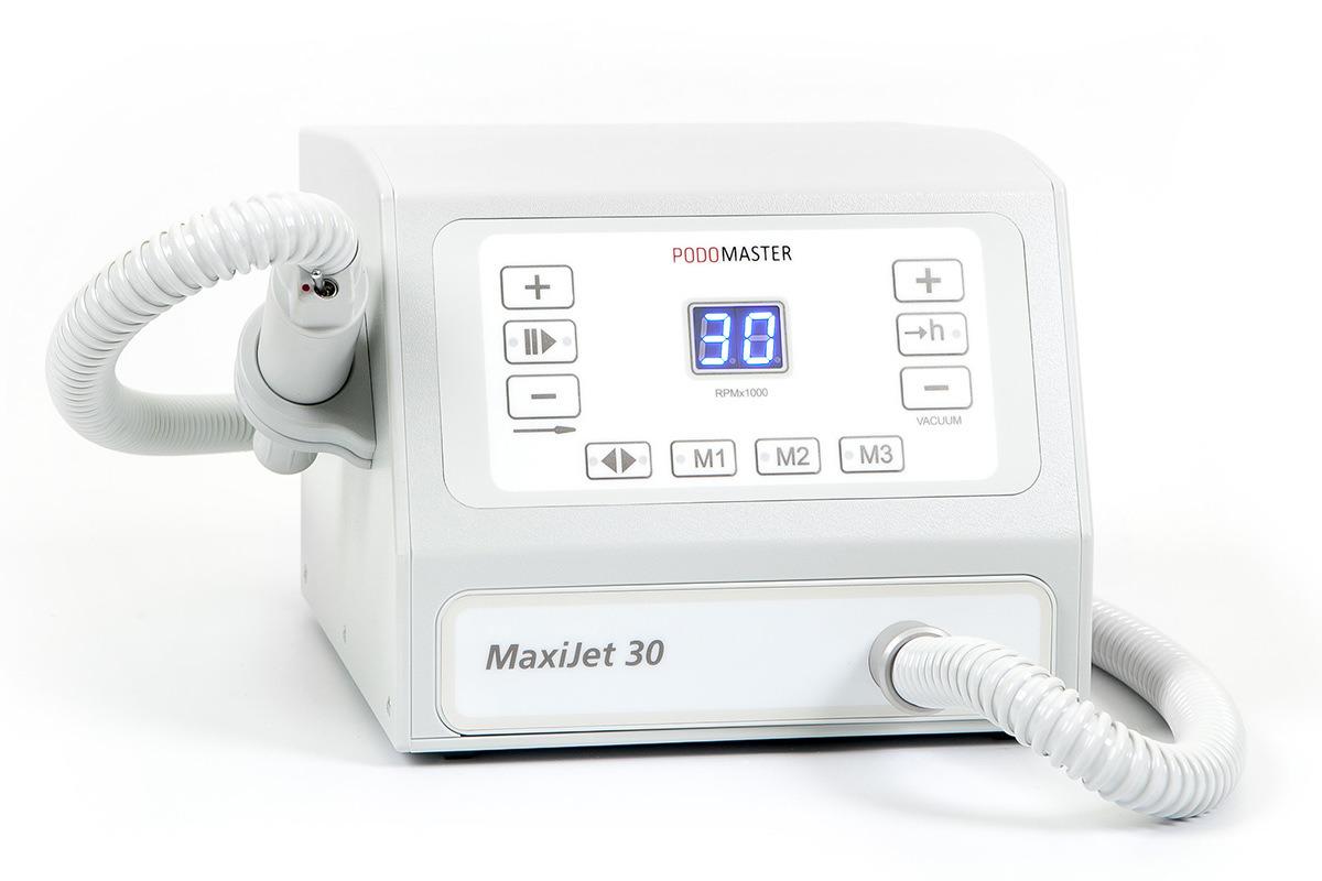 Евромедсервис Аппарат с пылесосом Podomaster MaxiJet 30 (30 тыс. об/мин)790Аппарат для педикюра Podomaster MaxiJet 30 предназначен для проведения процедур педикюра с одновременным удалением пыли в специальный мешок при помощи встроенного пылесоса.Скорость вращения аппарата — 30 000 оборотов в минуту.Функции: 3 ячейки памяти скорости вращения, плавная регулировка оборотов, реверс, функция паузы, счетчик часов работы для своевременной замены фильтра, регулировка мощности пылесоса, цифровой дисплей, возможность подключения педали плавной регулировки оборотов (опция).Отличительные особенности: регулировка всех настроек при помощи клавиатуры, ультралегкий наконечник, выключатель на ручке, боковой держатель для наконечника, силиконовый колпачок против попадания пыли в выключатель.Боковой держатель для наконечника может устанавливаться как на левую, так и на правую сторону аппарата.