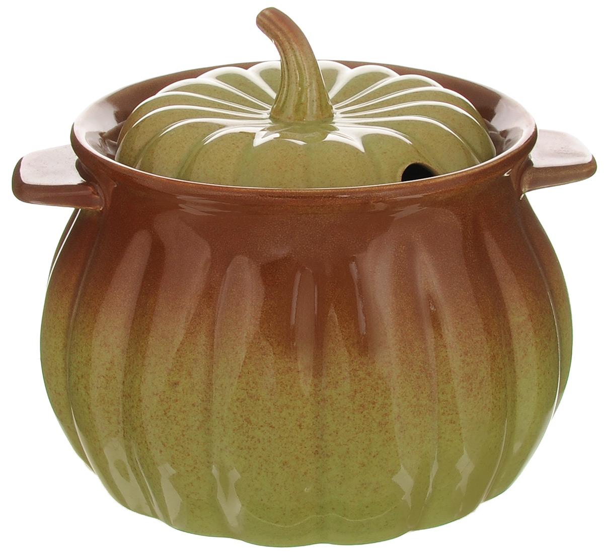 Горшок для запекания Appetite Тыква, 2,3 лHC2189Горшок Appetite Тыква изготовлен из высококачественной жаропрочной керамики в виде тыквы. Преимущества керамической посуды: - отсутствие выделений химических примесей; - равномерный нагрев; - долгое сохранение температуры; - сохранение витаминов и других ценных питательных веществ.Горшок оснащен двумя ручками и крышкой. Его можно использовать для запекания, а также для хранения сыпучих продуктов.Диаметр по верхнему краю: 16 см.Высота с учетом крышки: 16 см.