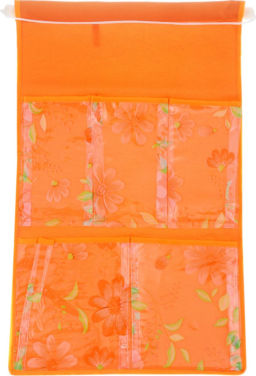 """Кармашки на стену Sima-land """"Герберы"""", цвет: оранжевый, 5 отделений"""