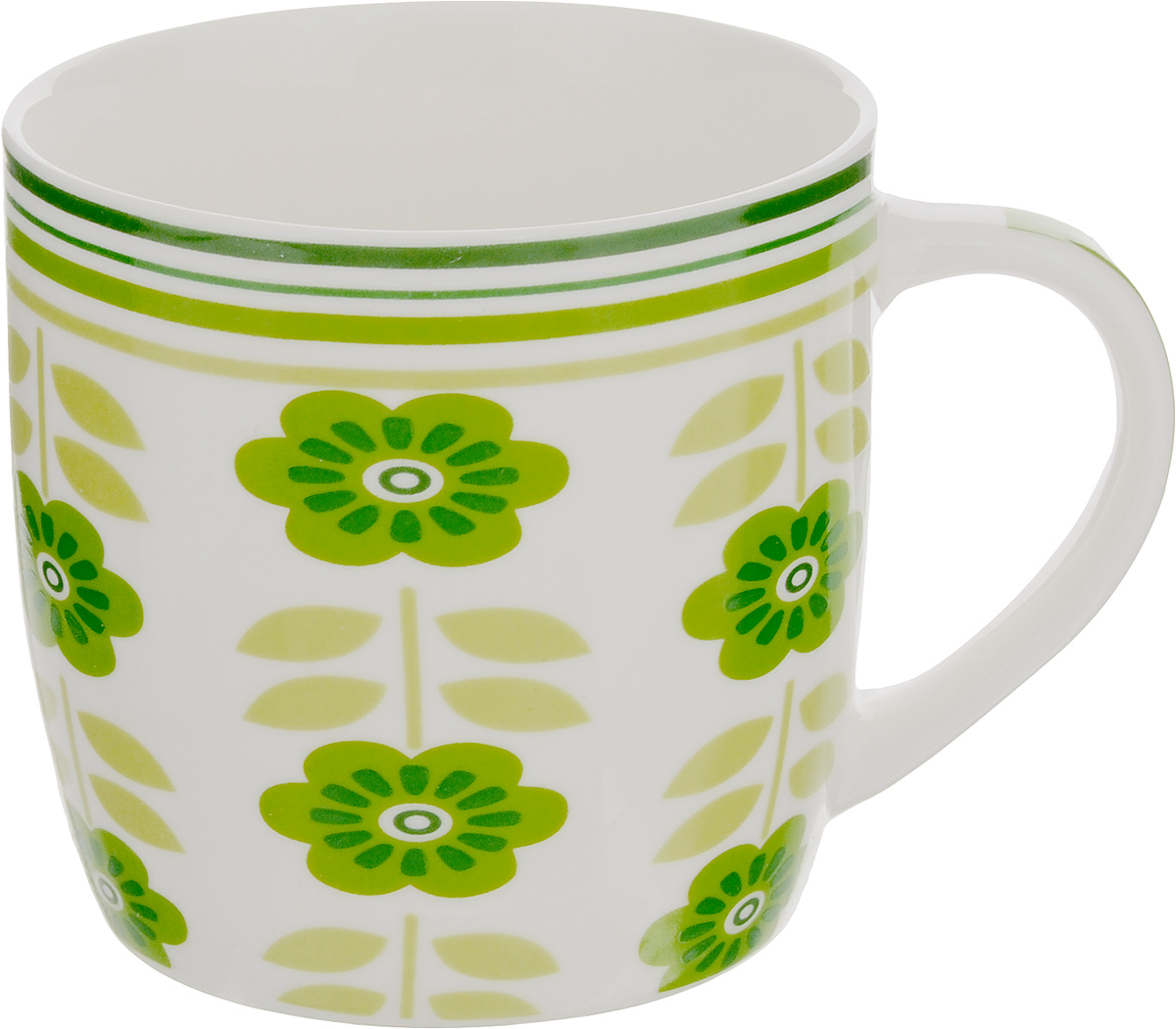 Кружка Loraine Цветы, 320 мл24474_белый, зеленыйОригинальная кружка Loraine Цветы выполнена из костяного фарфора и оформлена красочным изображением. Она станет отличным дополнением к сервировке семейного стола и замечательным подарком для ваших родных и друзей.Диаметр кружки (по верхнему краю): 8,5 см.Высота кружки: 8,4 см.