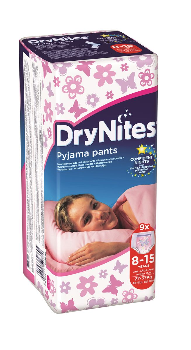 Huggies Подгузники-трусики для девочек DryNites 8-15 лет 9 шт
