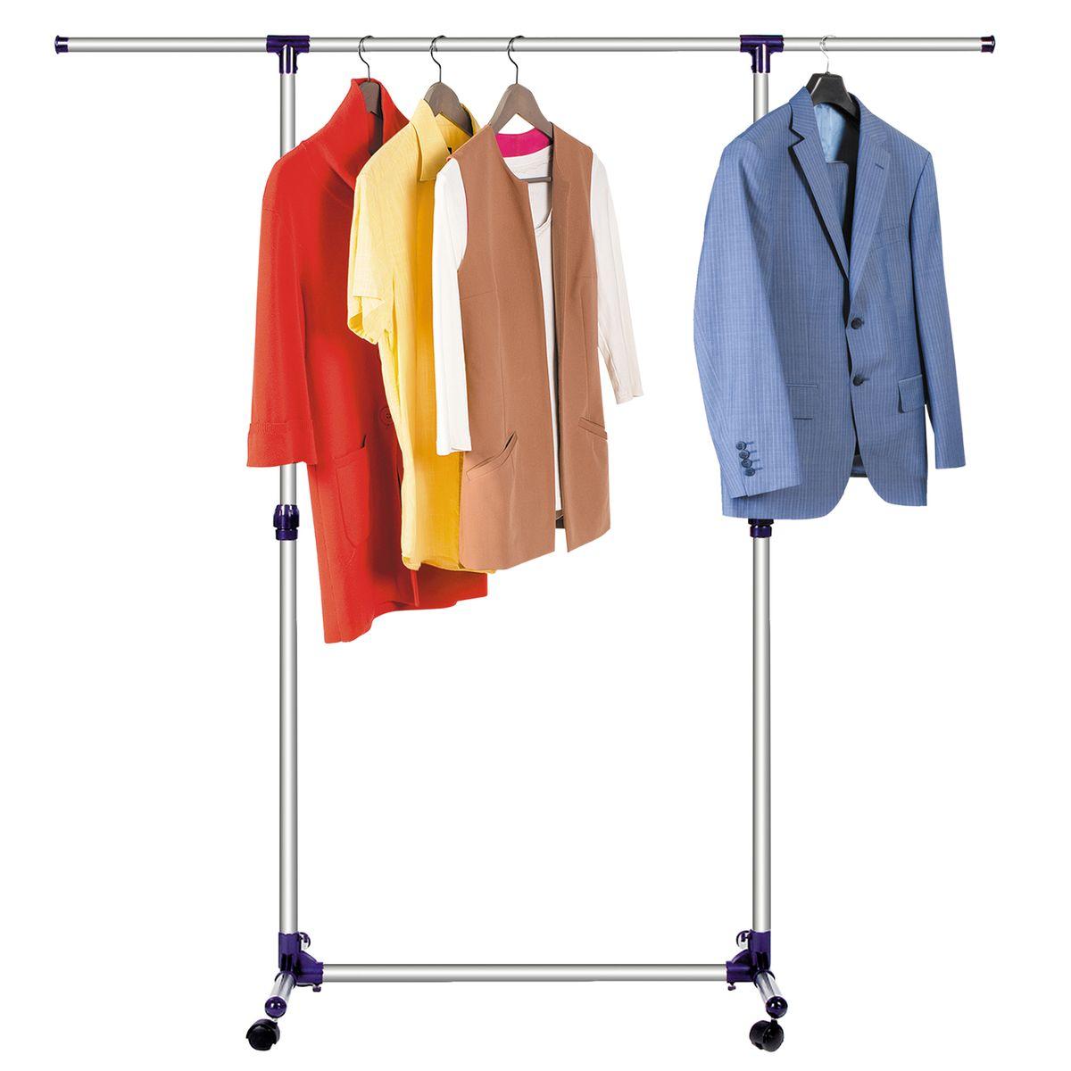 Стойка для одежды Tatkraft Hamburg, с усиленной базой, цвет: хром, черный16088Стойка для одежды Tatkraft Hamburg с усиленной базой и боковыми телескопическими штангами. Надежный внутренний замок. Колеса с фиксацией. Стойка из нержавеющей стали и ABS-пластика. Вмещает до 30 вешалок, распределенный вес по длине штанги - 30 кг. Размеры: 87–150 (Ш) x 44 (Г) x 97–160 (В) см