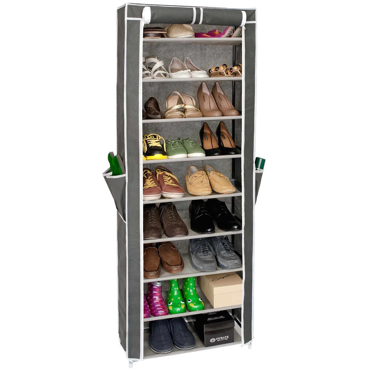 Этажерка для обуви Artmoon Carrie, с нетканым чехлом, 9 полок, цвет: серый699317Этажерка Artmoon Carrie состоит из 9 полок, рассчитанных на 27 пар обуви. Полки съемные, регулируются под обувь любой высоты.Нетканый чехол защищает от пыли, две молний, фиксируется липучкой в открытом виде, полки с полипропиленовой пропиткой не боятся влаги для легкой уборки. На чехле расположены дополнительные 4 кармашка. Размер этажерки: 58 x 29 x 160 см.