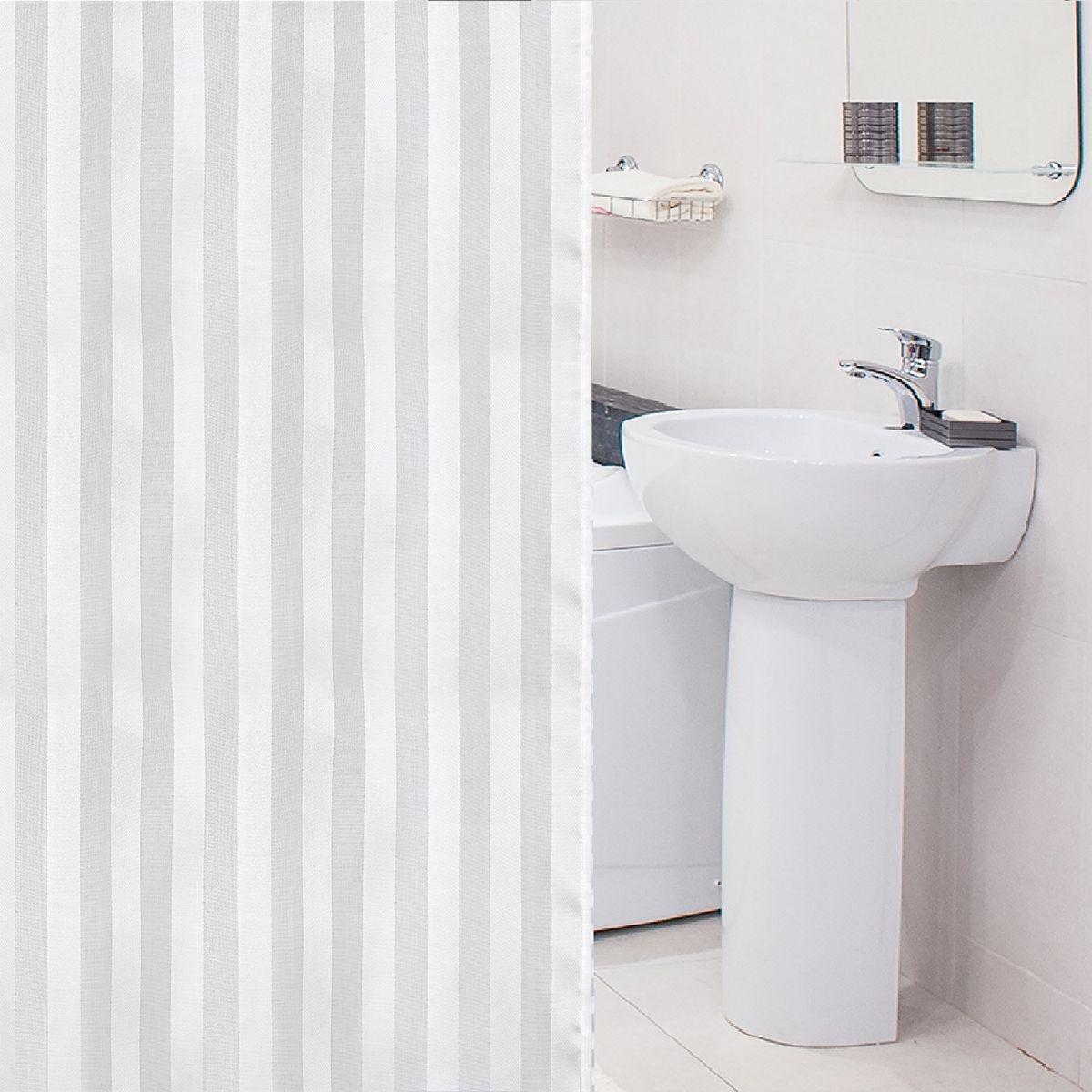 """Штора для ванной комнаты Tatkraft """"Harmony"""" выполнена  из высококачественного полиэстера с водоотталкивающим  и антигрибковым покрытием. Изделие приятно на ощупь,  быстро высыхает. В комплекте прилагаются овальные  пластиковые кольца.   Такая штора прекрасно впишется в любой интерьер ванной  комнаты и идеально защитит от брызг.  Можно стирать в стиральной машине при температуре  40°С.  Количество колец: 12 шт."""