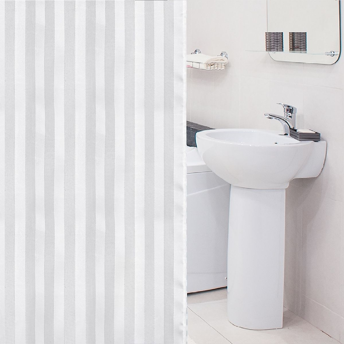 Штора для ванной комнаты Tatkraft Harmony, с кольцами, 180 х 180 см полка для ванной комнаты tatkraft mega lock vena цвет серый металлик