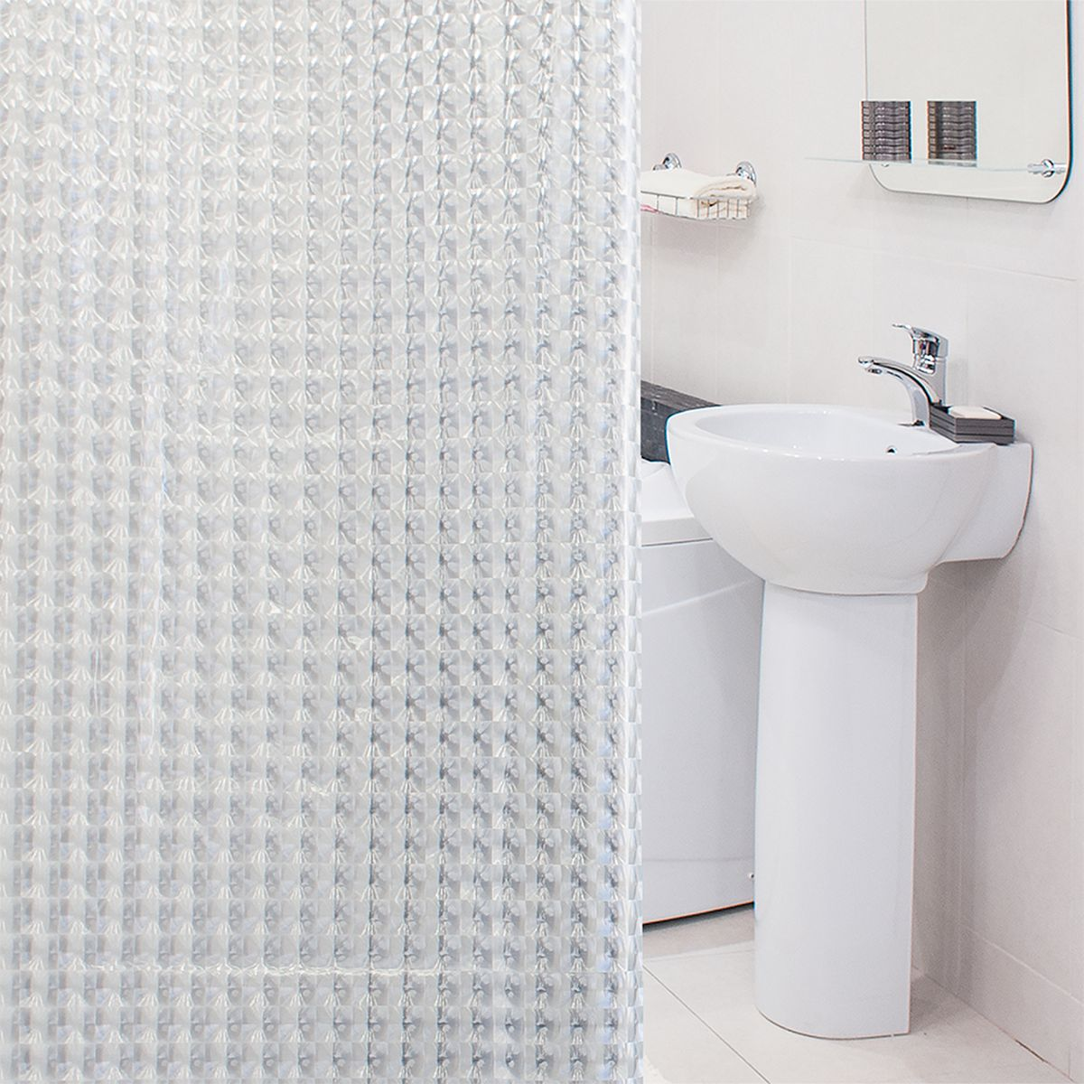 Штора для ванной комнаты 3D Tatkraft Crystal, с кольцами, 180 х 180 см крючок двойной tatkraft mega lock на вакуумном шурупе