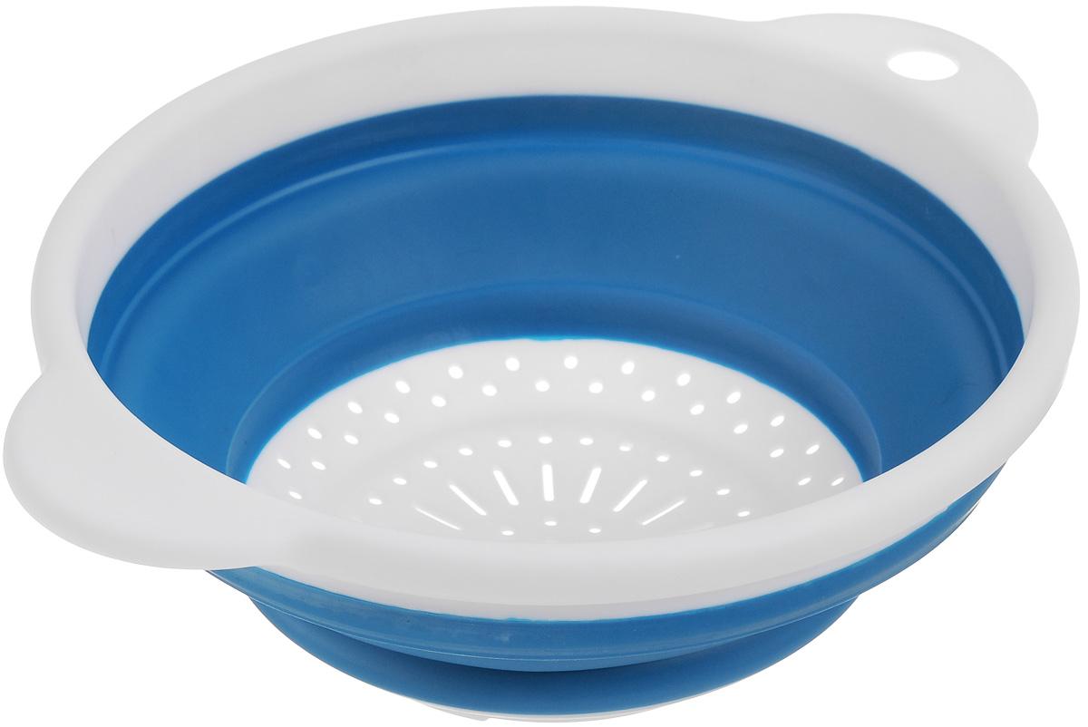 """Дуршлаг складной """"Идея"""", изготовленный из  высококачественного пищевого пластика и силикона, станет  полезным приобретением для вашей кухни. Он  идеально подходит для процеживания, ополаскивания макарон, овощей, фруктов.    Нельзя мыть и  сушить в посудомоечной машине.   Внутренний диаметр: 18 см.  Размер (в разложенном виде): 23 х 20 х 9 см.   Размер (в сложенном виде): 23 х 20 х 3 см."""