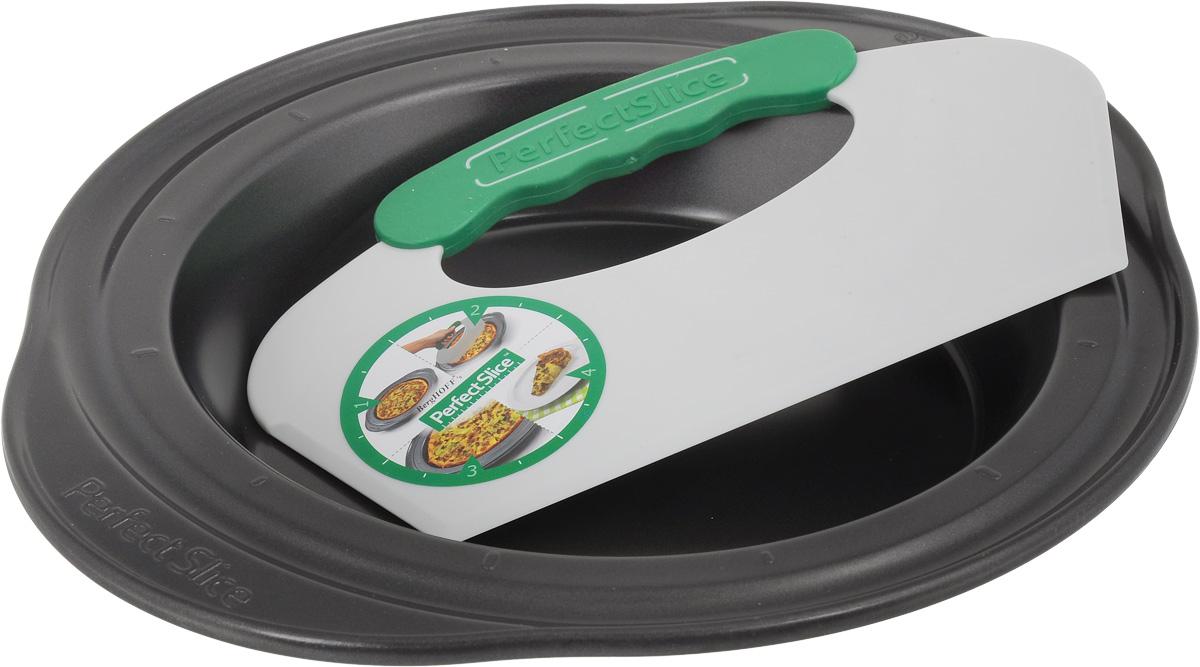 Форма для выпечки BergHOFF Perfect Slice, круглая, с инструментом для нарезания, диаметр 22 см. 1100054TV-112Форма для выпечки BergHOFF Perfect Slice выполненаиз высокоуглеродистой стали с антипригарнымпокрытием. Благодаря такому покрытию пище непригорает, не прилипает и легко вынимается.Специальная разметка и инструмент для нарезанияпозволят разделить блюдо на равные и красивыепорции. Эргономичные ручки выполнены длябезопасного и легкого хвата, даже в рукавицах.Форма выдерживает температуру до 250°C.Такая форма станет верным помощником в созданииваших кулинарных шедевров.. Подходит для использования в духовом шкафу. Можномыть в посудомоечной машине.Внутренний диаметр формы: 22 см.Ширина формы (с учетом ручек): 30 см.Высота стенки: 5 см. Диаметр основания: 21,5 см. Размер инструмента для нарезания: 22,5 х 12,5 см.
