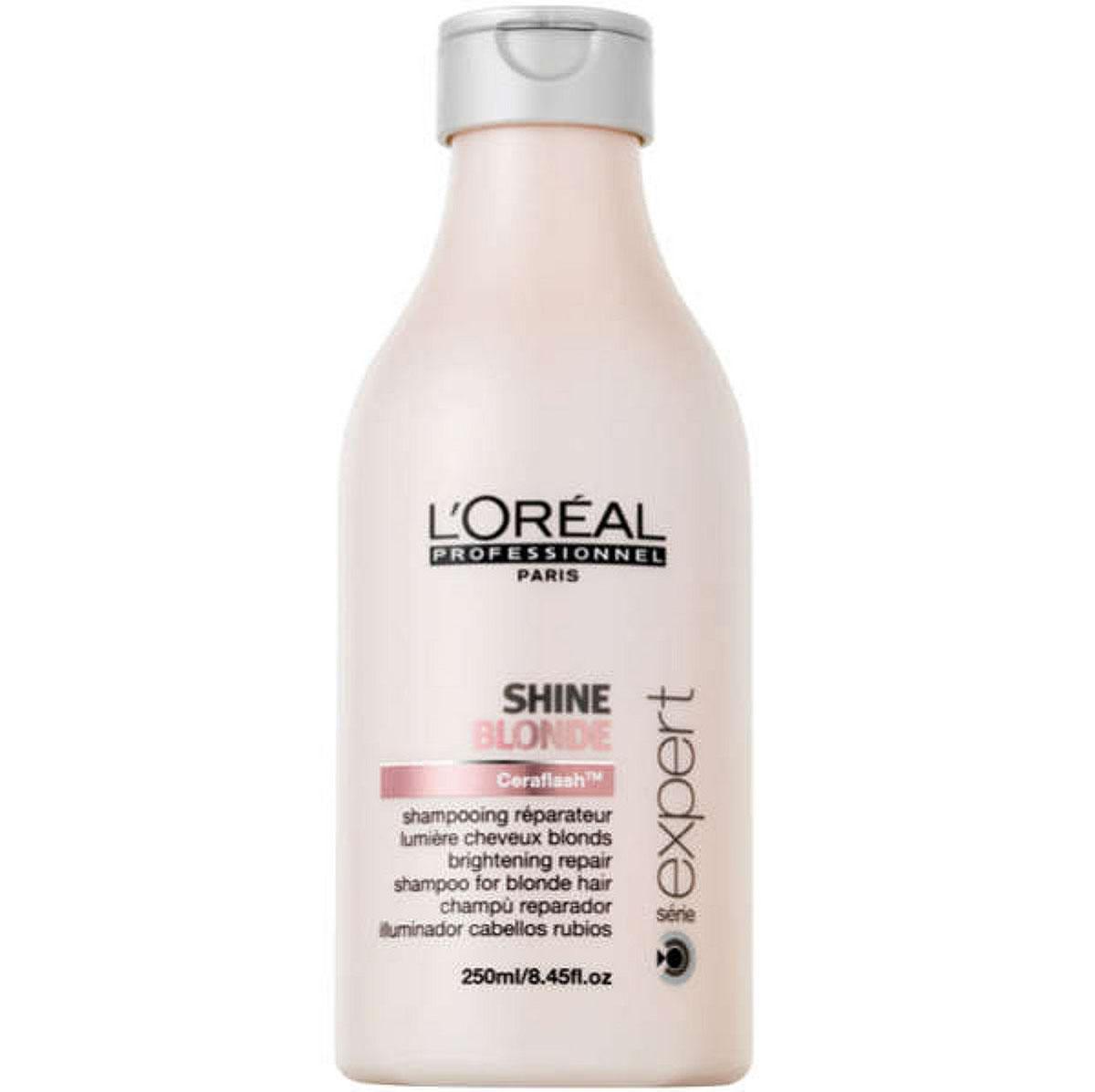 LOreal Professionnel Шампунь Expert Shine Blonde - 250 млE0077386Волосы, которые подверглись окрашиванию или осветлению, нуждаются в особо бережной защите и в восстановлении. Такой уход им способен обеспечить шампунь из серии Shine Blonde, который препятствует появлению жёлтого оттенка и потускнению волос. Кроме того, он защищает волосы от воздействия ряда негативных факторов внешней среды. В состав шампуня входят керамиды, восстанавливающие межклеточное вещество, анти-кальциевые компоненты, защищающие волосы от неблагоприятного воздействия воды, а также активные компоненты, увлажняющие волосы и придающие им блеск. Шампунь очень бережно и мягко очищает волосы, не вымывая красящие пигменты. Средство препятствует потускнению цвета и появлению жёлтого оттенка, дарит волосам сияние и блеск, делает их необычайно послушными и мягкими. Шампунь Shine Blonde обеспечит вашим волосам яркий цвет, питание и увлажнение.