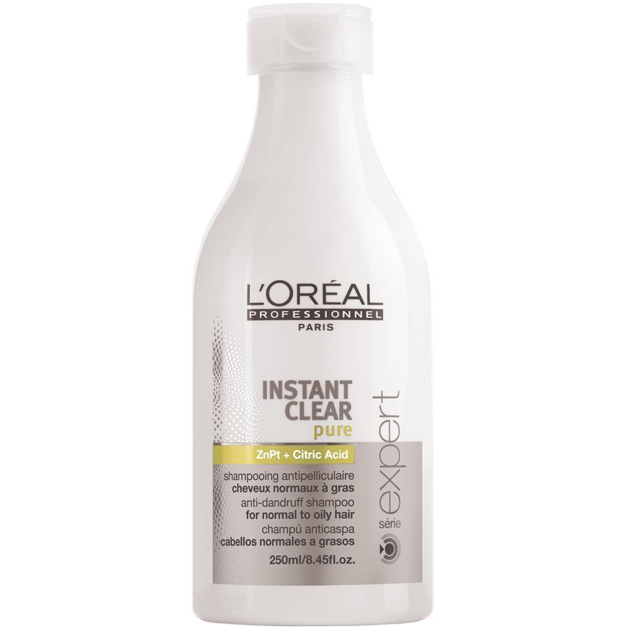 LOreal Professionnel Instant – Шампунь от перхоти 250 млE0408456LOreal Professionnel Instant Clear Pure Shampoo Шампуньотперхоти профессиональное ухаживающее средство за волосами и кожей головы. Регулярное использование Instant Clear Pure Shampoo не просто избавляет от перхоти, а предотвращает ее появление вновь.Минеральные и питательные вещества, входящие в состав шампуня, глубоко увлажняют, очищают, питают и смягчают кожу, придавая ей жизненные силы, делая ее упругой и эластичной. Эффект использования шампуня становится заметен уже при первом применении, перхоть и зуд кожи головы исчезают, волосы приобретают естественный блеск и прекрасный здоровый вид.В состав средства также включены пиритион цинка, отвечающий за регенерацию клеток кожи и устранение перхоти, и альфа-бисаболол, оказывающий успокаивающее действие на кожу головы, избавляя от зуда и дискомфорта. Использование шампуня быстро нормализует работу сальных желез, восстанавливает и усиливает кровообращение кожи головы, что способствует укреплению корней волос.Шампунь от перхоти LOreal Professionnel Instant Clear Pure Shampoo бережный уход за кожей головы и всегда красивые и ухоженные волосы!