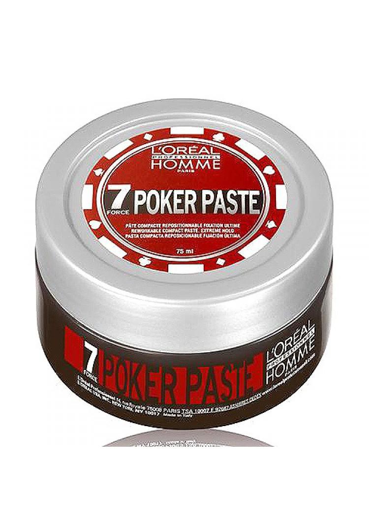 LOreal Professionnel Homme Моделирующая паста экстремально сильной фиксации Poker Paste – 75 млE0517790LOrealProfessionnelHommePokerPaste Моделирующая паста экстремально сильной фиксации профессиональное средство для укладки волос, специально разработанное для мужчин. Компактная моделирующая паста экстремально сильной фиксации 7 степени LOreal Professionnel Homme Poker Paste поможет воплотить любые, даже самые смелые, варианты укладки мужских причесок.Паста обеспечивает сильную фиксацию прядей в течение всего дня, даже самые непослушные и жесткие волосы легко принимают нужную форму и надолго сохраняют безупречность прически.Благодаря сбалансированному составу, обогащенному комплексом минералов, витамин и других питательных веществ бережно ухаживает за волосами, придавая им красивый блеск и жизненную силу. После нанесения моделирующая паста остается невидимой, волосы не слипаются, остается ощущение легкости и естественности. Идеально подходит для укладки всех типов волос.Средство имеет тонкую, и в тоже время насыщенную и немного терпкую ароматическую композицию. Верхние ноты ароматов представлены миндальным орехом, цитрусом и гальбанумом, средние ноты кардамоном, озоном и жасмином, а базовые ноты это кедр, мускус и запах моря.LOreal Professionnel Homme Poker Paste красота, сила и невероятный аромат мужских волос на весь день!