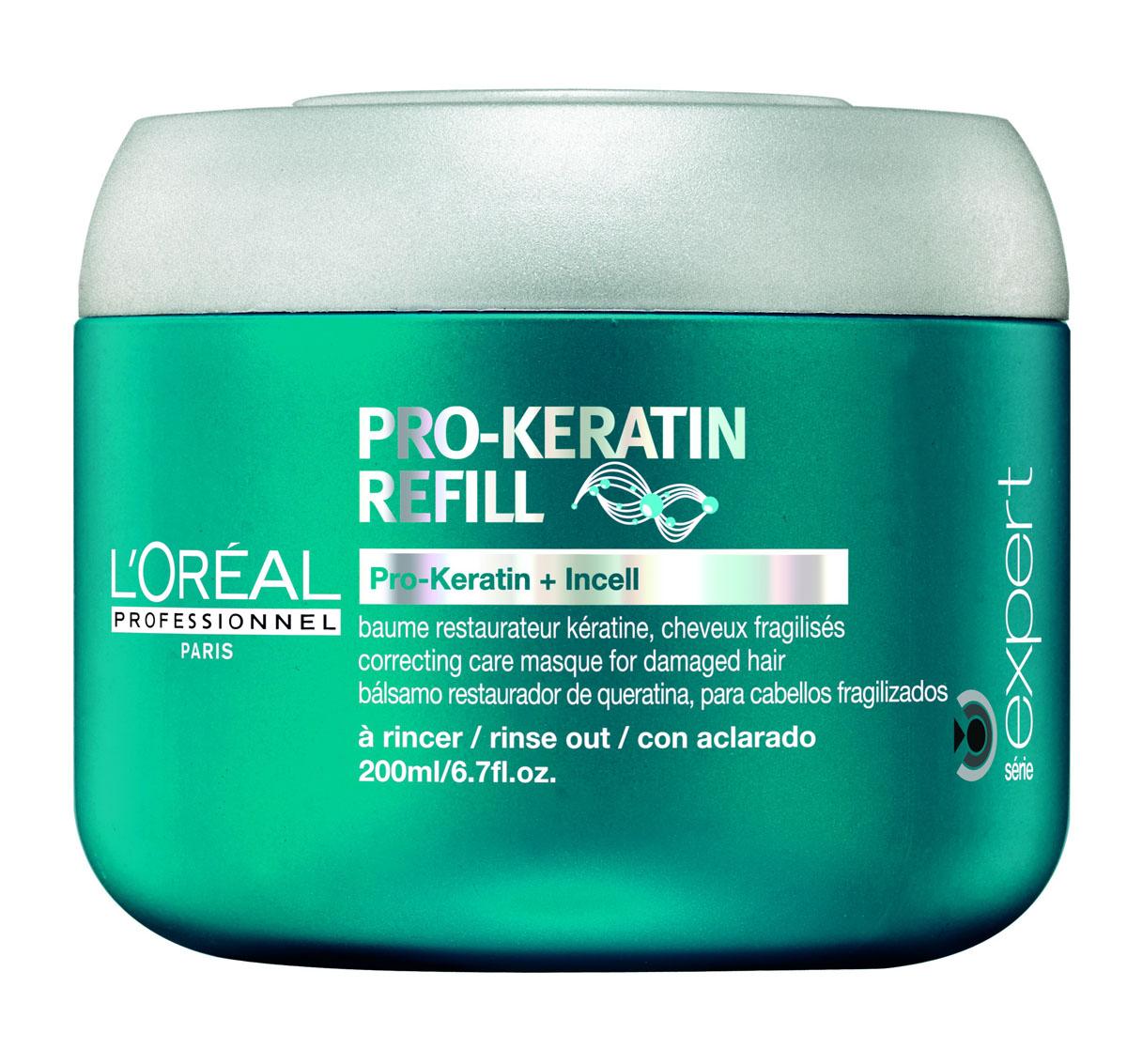LOreal Professionnel Восстанавливающая и укрепляющая маска для поврежденных волос Expert Pro-Keratin Refill Masque - 200 млE0526082Питательная маска от Lоreal Professionnel глубоко проникает вглубь волоса и пополняет его поврежденную структуру.Обладает интенсивными питательными и лечебными свойствами.Устраняет сечение кончиков и спутывание, облегчая расчесывание. Укрепляет волосяной фолликул и уплотняет волосы.Препятствуя чрезмерному выпадению волос, способствуя здоровому росту волос.Устраняет нежелательную пушистость и делает волосы послушными.Придает дополнительный блеск, необходимую гладкость и шелковистость.Восстанавливает поврежденные чешуйки волос, интенсивно питает, защищает от негативного воздействия среды.Исследования показали, что волосы на 70% становятся менее ломкими и хрупкими.Активные компоненты: Pro-кератин, молекулы Incell, протеины пшеницы, аргинин, фруктовые экстракты.