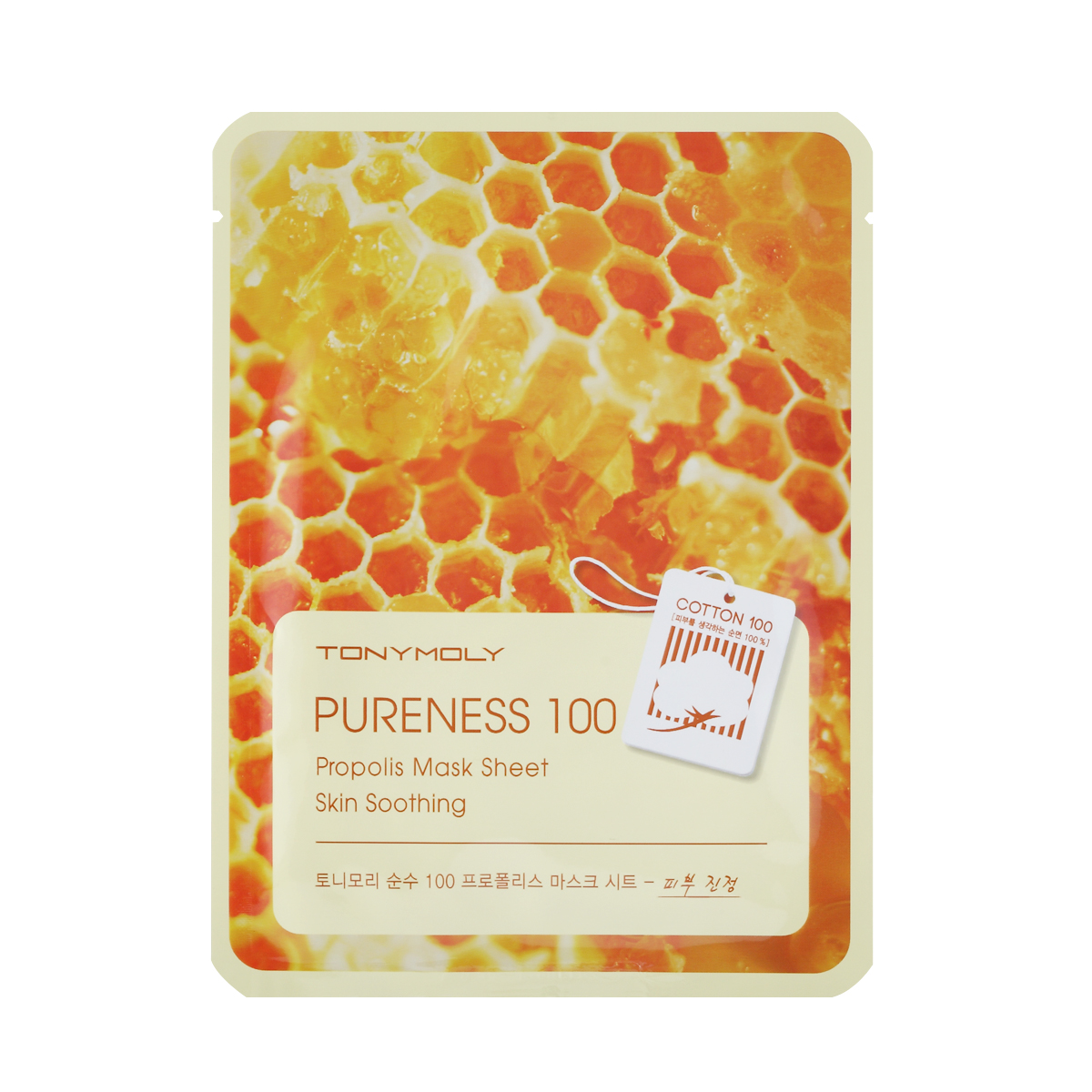TonyMoly Тканевая маска с экстрактом прополиса Pureness 100 Propolis Mask Sheet-Skin Calming, 21 мл tony moly sheet gel mask pureness 100 collagen маска тканевая с экстрактом коллагена 21 мл