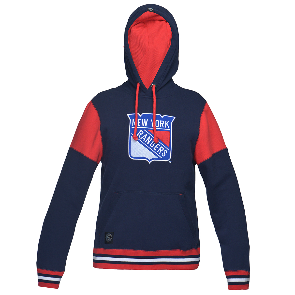 Толстовка мужская NHL New York Rangers, цвет: синий, красный. 35010. Размер XXL (54)35010Теплая толстовка NHL New York Rangers, изготовленная из высококачественного хлопкового материала, необычайно мягкая и приятная на ощупь, не сковывает движения, обеспечивая наибольший комфорт. Толстовка с капюшоном на кулиске спереди имеет вместительный карман кенгуру. На груди оформлена вышивкой в виде эмблемы хоккейного клуба New York Rangers. Толстовка имеет широкую мягкую резинку по низу, что предотвращает проникновение холодного воздуха, и длинные рукава с широкими эластичными манжетами, не стягивающими запястья. Эта модная и в тоже время комфортная толстовка отличный вариант как для активного отдыха, так и для занятий спортом!