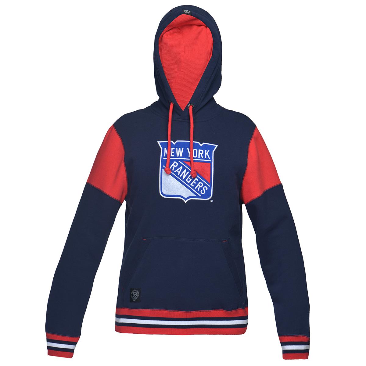 Толстовка мужская NHL New York Rangers, цвет: синий, красный. 35010. Размер XXL (54)