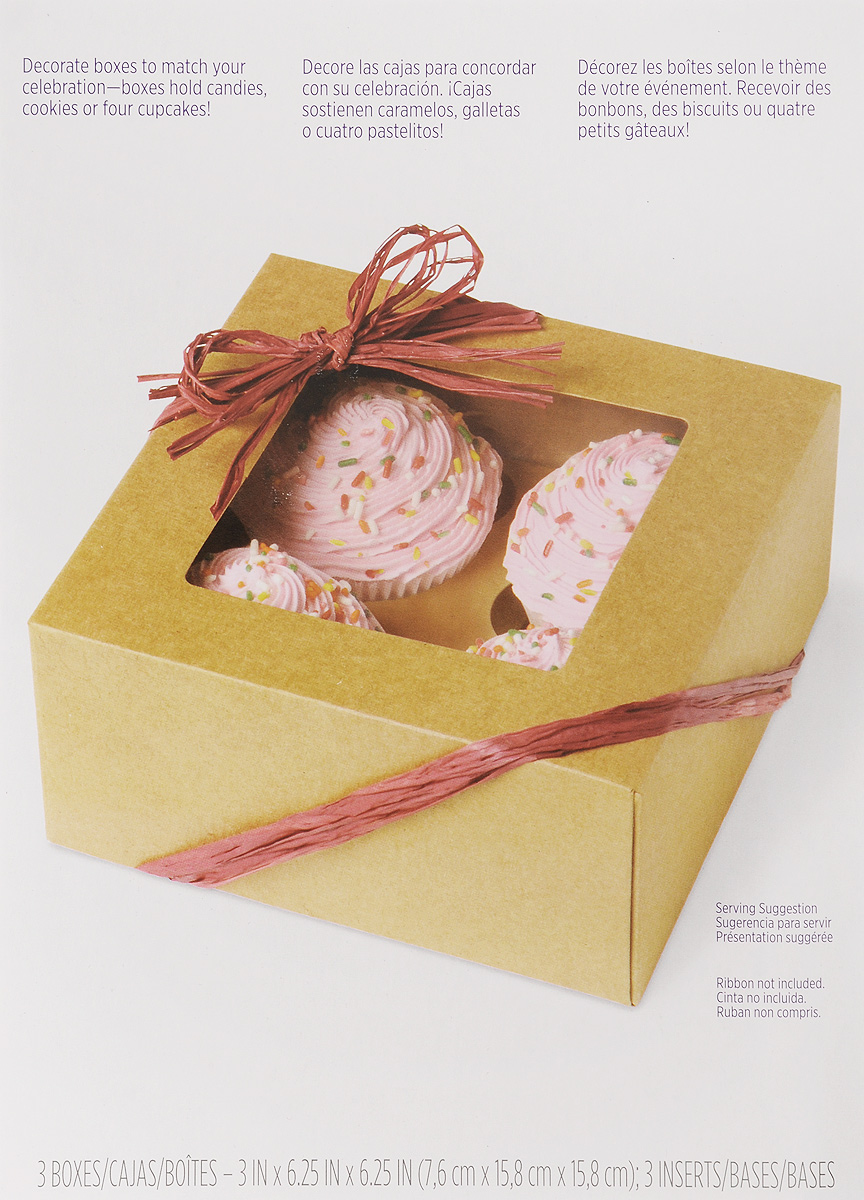 Набор коробок для сладостей Wilton Крафт, 3 штWLT-415-0953Набор Wilton Крафт состоит из трех коробок, изготовленных из картона и предназначенных для упаковки кондитерских изделий. Каждая коробочка оснащена небольшим окошком, благодаря которому можно видеть содержимое.Коробка Wilton Крафт - идеальная упаковка для вашего сладкого подарка. Просто поместите внутрь пирожное, и удивительно красивый и вкусный подарок готов! Набор также подходит для транспортировки кондитерских изделий. Размер коробки (в сложенном виде): 23,5 х 15,7 х 0,7 см.