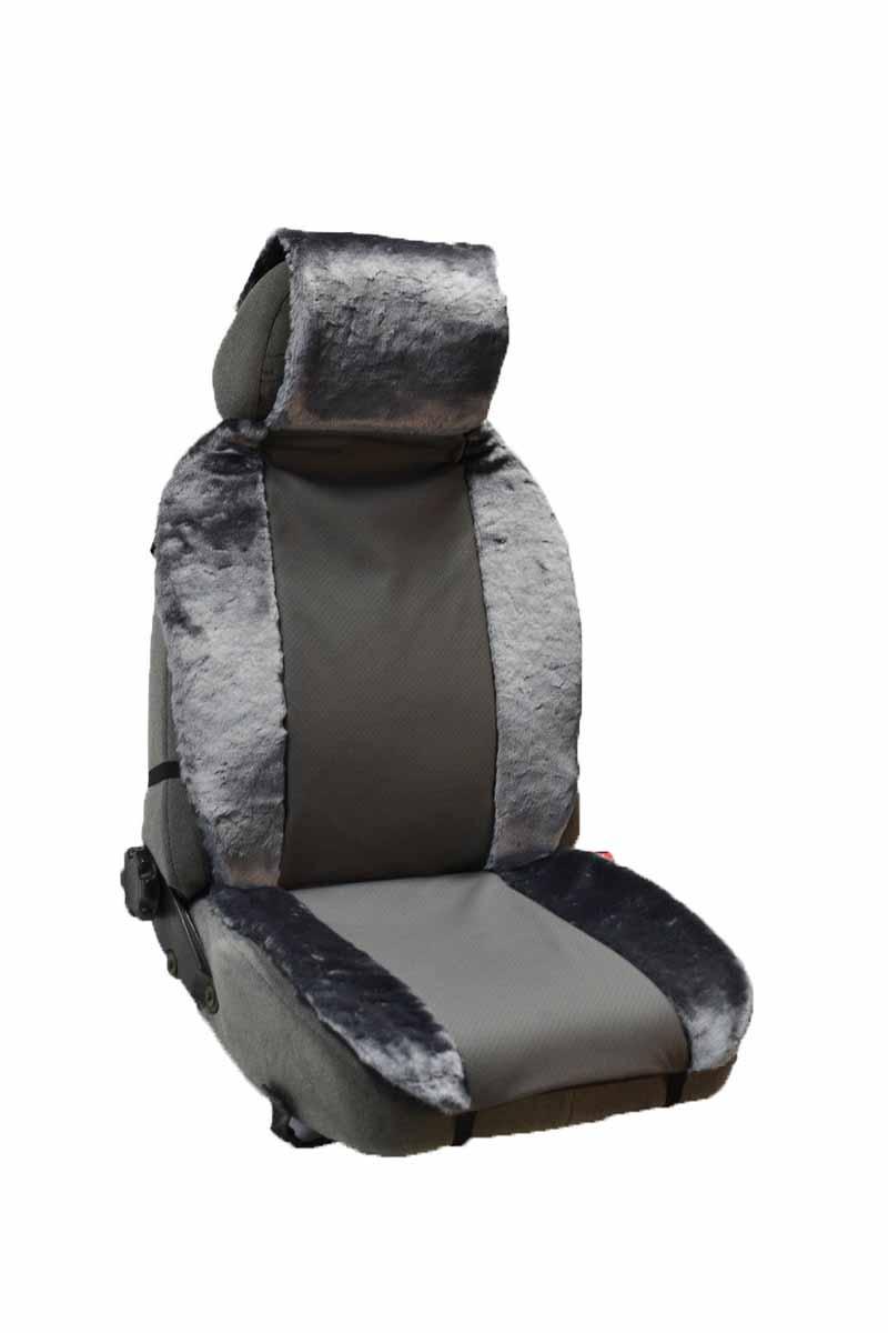 Накидка Auto premium на полное сидение, цвет: серый. 4710747107Комбинированная накидка из экокожи и искуственного меха. Стильное и практичное решение для салона автомобиля. Экокожа обеспечит долговечность использования накидки, а искуственный мех сделает сиденье автомобиля еще более комфортным. Долговечная и в то же время теплая накидка в Ваш автомобиль.