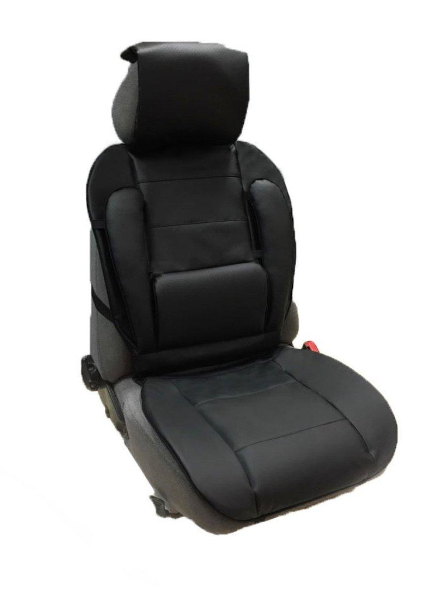 Накидка Auto Premium, на полное сидение, с валиком для спины, цвет: черный47304Ортопедическая накидка Auto Premium выполнена из экокожи - наиболее долговечного и износостойкого материал, используемого при производстве автомобильных чехлов. Изделие имеет специальные вставки для повышенного комфорта: поясничная вставка-валик. Позволит находиться в наиболее удобной для поясницы позиции. Боковая поддержка спины. Боковая поддержка сидушки. Подушка - подголовник (упор для шеи). Наиболее практичное решение для головы, шеи и верхнего отдела позвоночника. Убережет от усталости.