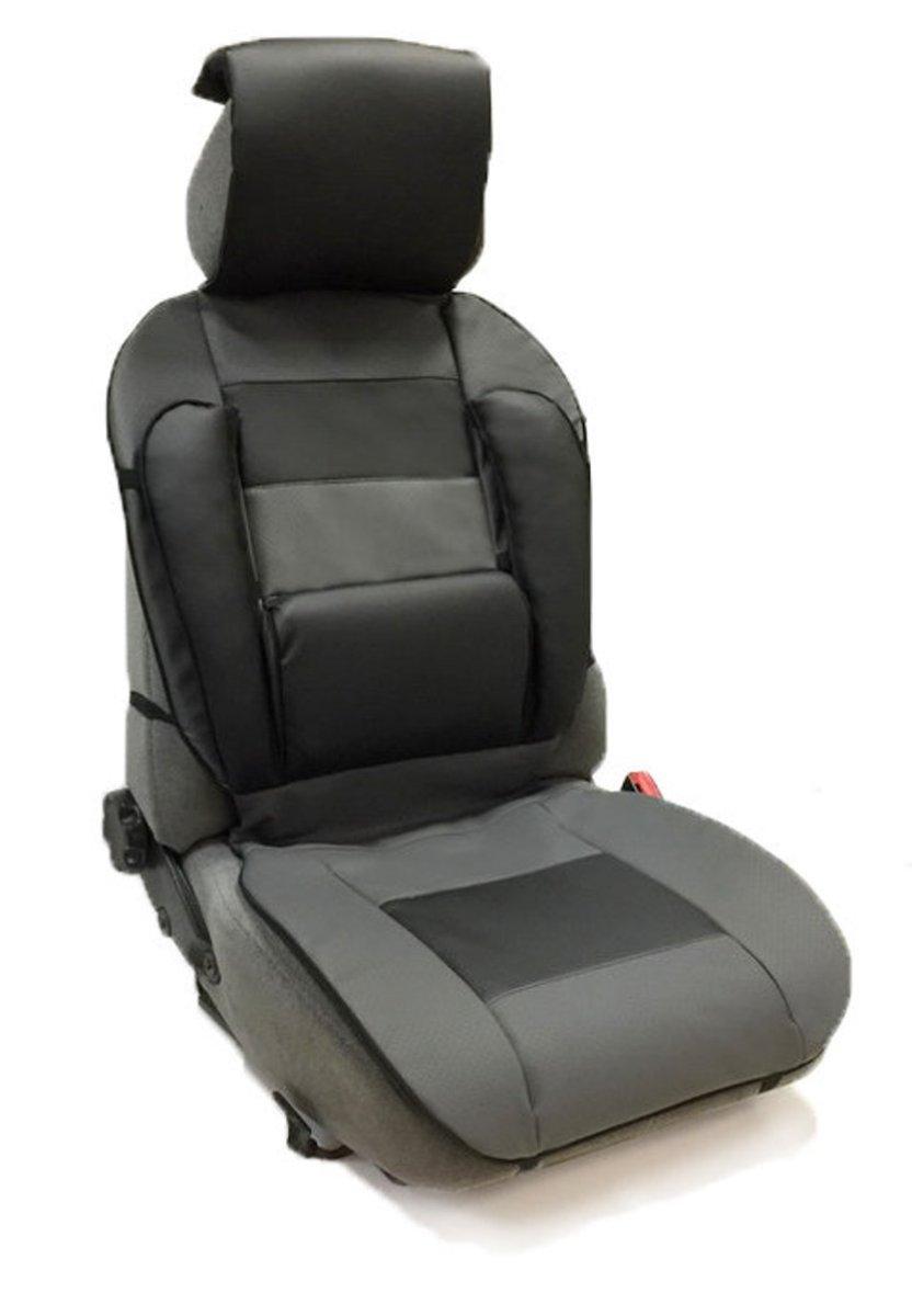Накидка Auto Premium, на полное сидение, с валиком для спины, цвет: черный, серый47305Ортопедическая накидка Auto Premium выполнена из экокожи - наиболее долговечного и износостойкого материал, используемого при производстве автомобильных чехлов. Изделие имеет специальные вставки для повышенного комфорта: поясничная вставка-валик. Позволит находиться в наиболее удобной для поясницы позиции. Боковая поддержка спины. Боковая поддержка сидушки. Подушка - подголовник (упор для шеи). Наиболее практичное решение для головы, шеи и верхнего отдела позвоночника. Убережет от усталости.