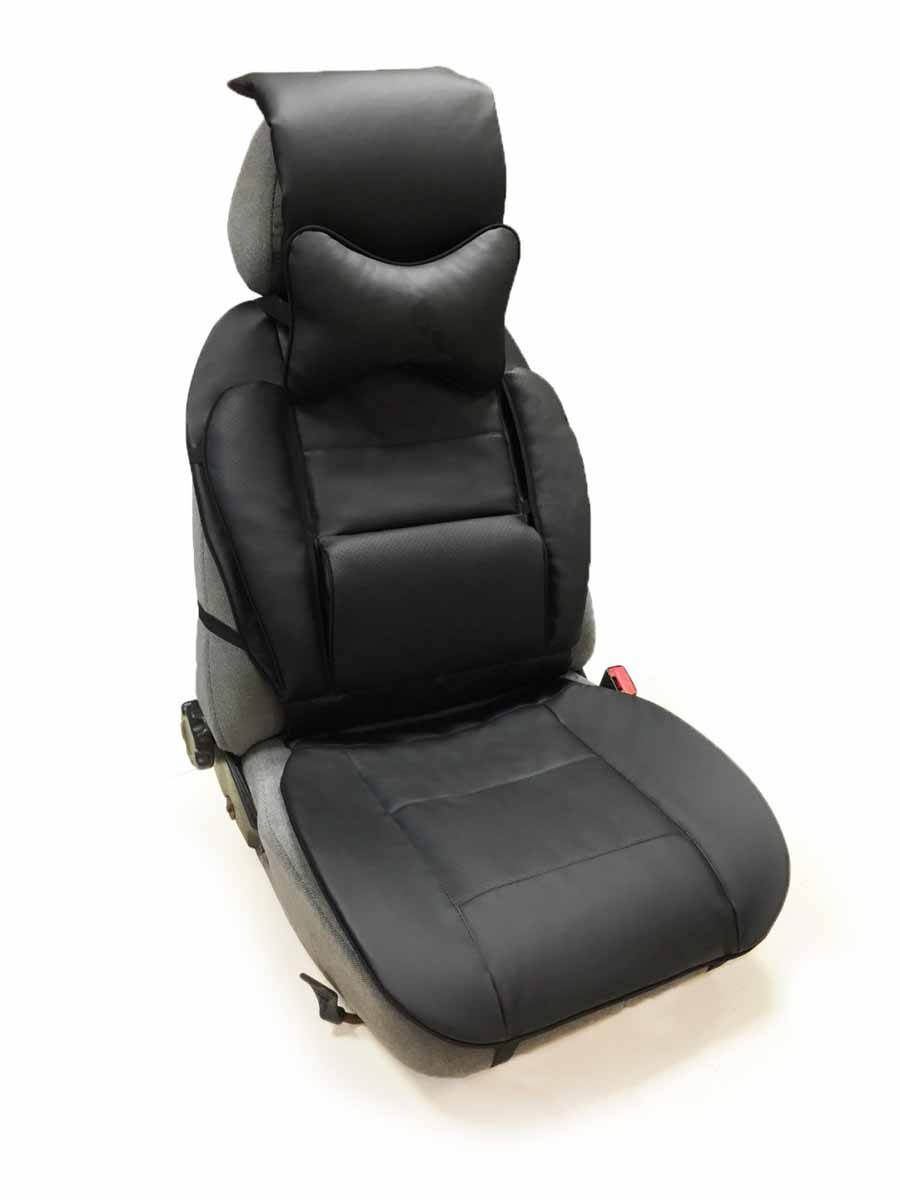 Накидка Auto Premium, на полное сидение, с валиком для спины, с подушкой на подголовник, цвет: черный47307Ортопедическая накидка Auto Premium выполнена из экокожи - наиболее долговечного и износостойкого материал, используемого при производстве автомобильных чехлов. Изделие имеет специальные вставки для повышенного комфорта:Поясничная вставка-валик. Позволит находиться в наиболее удобной для поясницы позиции.Боковая поддержка спины. Боковая поддержка сидушки.Подушка - подголовник (упор для шеи). Наиболее практичное решение для головы, шеи и верхнего отдела позвоночника. Убережет от усталости.Размер накидки: спинка - 57 х 50 см, сиденье - 50 х 50 см.Размер поясничной вставки-валика: 29 х 18 см.Длина подголовника: 40 см.Размер подушки - подголовника: 30 х 21 х 10 см.