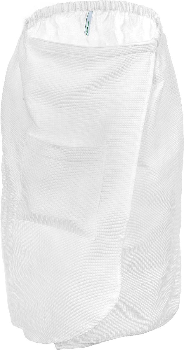 Парео для бани и сауны Proffi Sauna, цвет: белый. Размер МPH2028Парео для бани и сауны Proffi Sauna выполнено из легкой вафельной ткани (100% натуральный хлопок). Изделия из такой ткани хорошо впитывают влагу, являются практичными и износостойкими. Парео снабжено резинкой и застежкой-липучкой, поэтому универсально. Оно прекрасно послужит в качестве полотенца или накидки и защитит вас от воздействия горячих предметов в парилке. Парео - полезный аксессуар для всех любителей попариться в бане.Обхват груди: от 86 до 114 см.