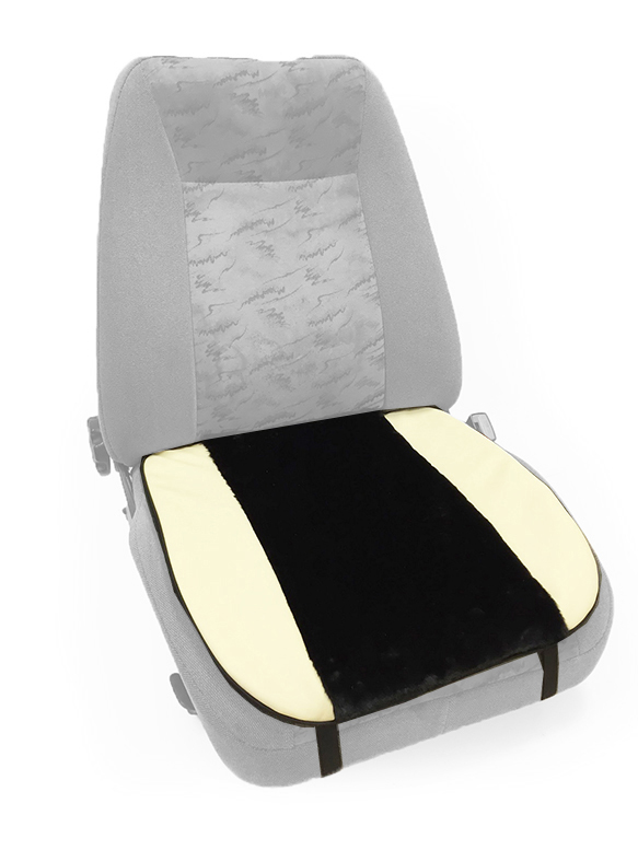 Накидка Auto Premium, на горизонтальную часть сиденья, цвет: черный, бежевый47006Комбинированная накидка на нижнюю часть сиденья Auto Premium выполнена из искусственного меха и экокожи. Сочетание этих материалов обеспечит долговечность при использовании накидки, при этом и комфорт останется на высоком уровне. Особенно полезна будет в зимний период времени. Накидка имеет 4 точки крепления на сиденье, поэтому держится крепко и никуда не съезжает.