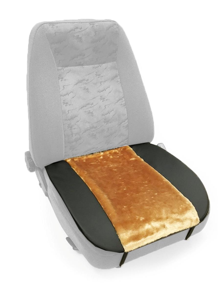 Накидка Auto premium на горизонтальную часть сидения, цвет: черно-бежевый. 4700847008Комбинированная накидка на нижнюю часть сиденья выполнена из искуственного меха и экокожи. Сочетания этих материалов обеспечит долговечность при использваонии накидки, при этом икомфорт останется на высоком уровне. Накидка имеет 4 точки крепления на сиденье, поэтому держится крепко и никуда не съедет.