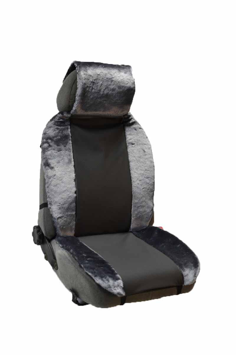 Накидка Auto premium на полное сидение, цвет: черно-серый. 4710647106Меховая накидка обладает высокими теплоизолирующими свойствами. Благодаря этому полностью исчезает дискомфорт при посадке в холодный автомобиль. Накидка создает дополнительную мягкость и комфорт, которые необходимы водителю и пассажирам при дальних поездках. Может использоваться как зимой, так и летом.