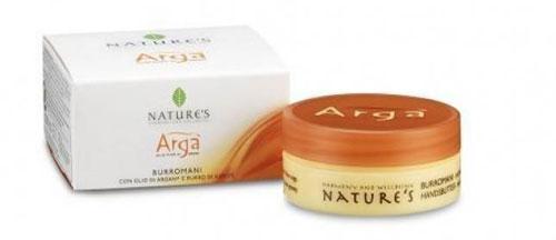 Крем для рук Natures Arga, 50 мл60150801Питательный крем для рук Natures Arga с маслами арганы, оливы, миндаля и ши ухаживает за кожей рук, обеспечивая надежную защиту от пересыхания, раздражения и воспаления. Идеален для сухой, потрескавшейся кожи, подверженной преждевременному старению. Быстро впитывается, не оставляя жирного блеска. Способ применения: наносите на руки легкими массажными движениями до полного впитывания несколько раз в день по мере необходимости. Характеристики:Объем: 50 мл. Производитель: Италия. Артикул:60150801. Товар сертифицирован.