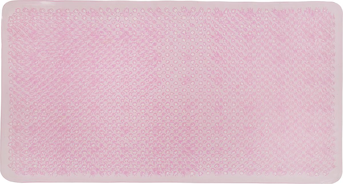 Коврик для ванной Vortex Травка, противоскользящий, цвет: розовый, 65 х 36 см babyono коврик противоскользящий для ванной цвет голубой 70 х 35 см