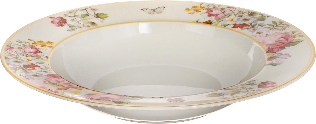 Тарелка суповая Nuova R2S Роскошные цветы, диаметр 23 см1360BLOCСуповая тарелка Nuova R2S Роскошные цветы выполнена из высококачественного фарфора и оформлен цветочным рисунком. Изделие сочетает в себе изысканный дизайн с максимальной функциональностью. Тарелка прекрасно впишется в интерьер вашей кухни и станет достойным дополнением к кухонному инвентарю. Суповая тарелка Nuova R2S Роскошные цветы подчеркнет прекрасный вкус хозяйки и станет отличным подарком. Можно мыть в посудомоечной машине и использовать в микроволновой печи.Диаметр тарелки: 23 см.