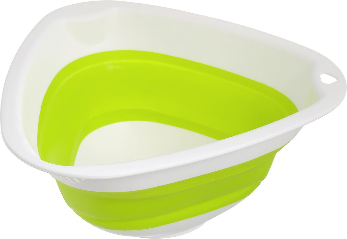 """Складная миска """"Calve"""" изготовлена из  высококачественного пищевого силикона и  пластика. Изделие можно использовать как для  хранения продуктов, так и для сервировки стола.  Благодаря тому, что она складывается,  миску удобно хранить в шкафу, занимая очень  мало места.  Такая миска станет полезным  приобретением для вашей кухни.   Размер миски (в разложенном виде): 27 х 26 х 12 см. Размер миски (в сложенном виде): 27 х 26 х 4,5 см."""