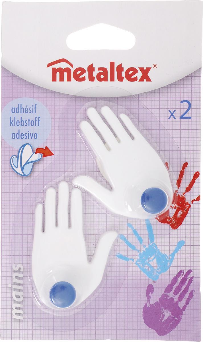Набор крючков Metaltex Mains, цвет: белый, синий, 2 шт29.40.02_белый,синийНабор настенных крючков Metaltex Mains изготовлен из прочного пластика ввиде левой и правой руки. Они прекрасно подойдут для вашей ванной комнатыили кухни и не займут много места, надежно выдержав все, что вына них повесите. Крючки могут крепится на стену с помощью липкой лентыкоторая находится на задней стороне крючка. Размер крючка: 4 х 1,5 х 6 см. Комплектация: 2 шт.