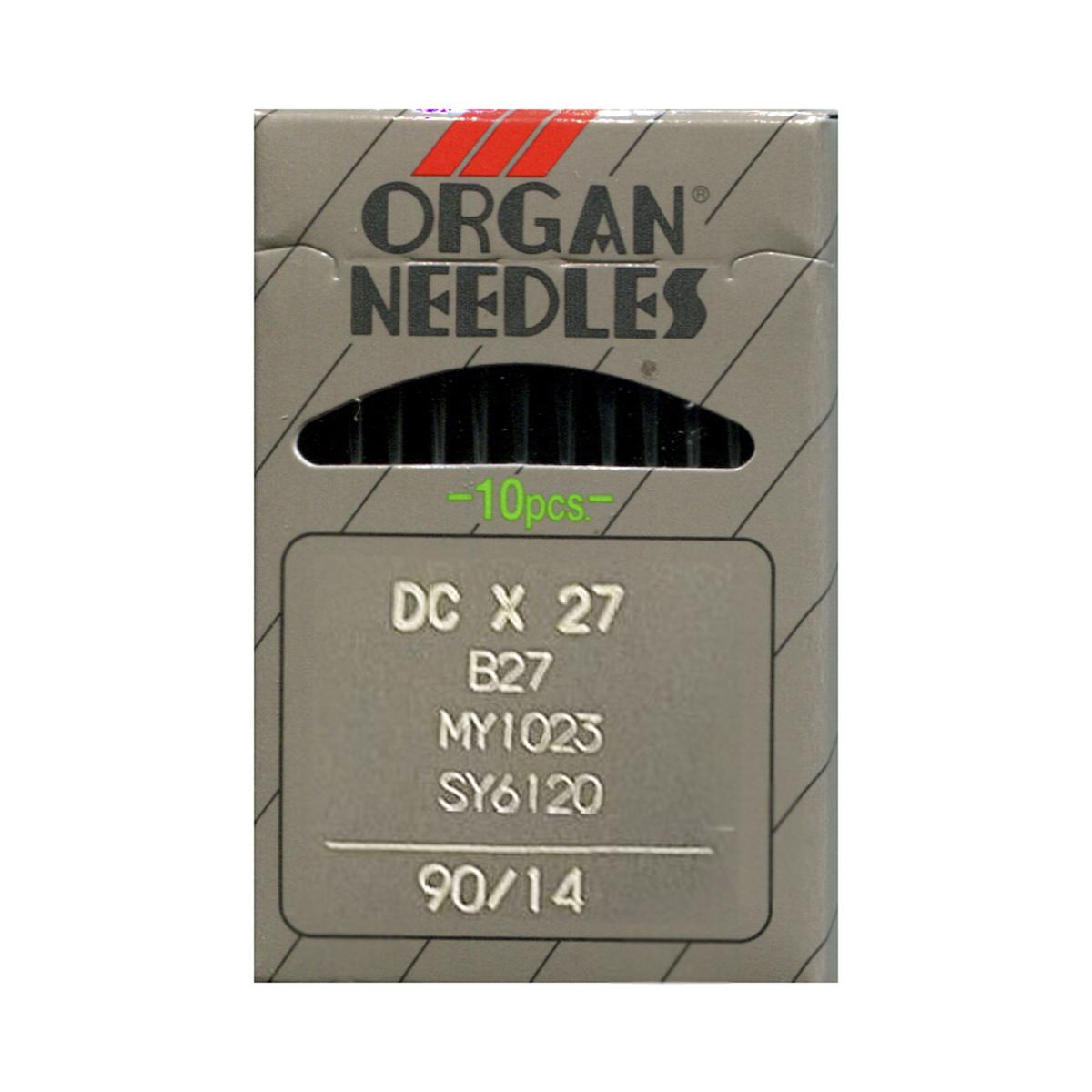 Иглы для промышленных швейных машин Organ, DCx27/90, 10 шт162267Иглы для промышленных швейных машин Organ с маркировкой DCx27 предназначены для оверлочных швейных машин. Иглы используются для пошива всех видов тканей. Острие игл тонкое, стандартное.Предназначены для оверлоков 51, 208 класса, их модификаций и импортных аналогов. В промышленных машинах используются иглы с круглыми колбами, в отличие от игл бытовых машин, у которых колбы плоские. Круглая колба позволяет при наладке машины и установке иглы поворачивать (вращать) иглу, закрепляя ее в нужном положении. Диаметр колбы: 2,02 мм. Длина иглы: 28,6 мм. Номер игл: 90.