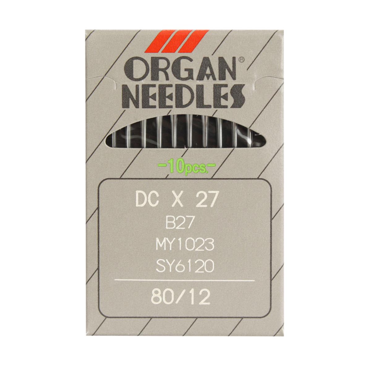 Иглы для промышленных швейных машин Organ, DCx27/80, 10 шт162274Иглы для промышленных швейных машин Organ с маркировкой DCx27 предназначены для оверлочных швейных машин. Иглы используются для пошива всех видов тканей. Острие игл тонкое, стандартное.Предназначены для оверлоков 51, 208 класса, их модификаций и импортных аналогов. В промышленных машинах используются иглы с круглыми колбами, в отличие от игл бытовых машин, у которых колбы плоские. Круглая колба позволяет при наладке машины и установке иглы поворачивать (вращать) иглу, закрепляя ее в нужном положении. Диаметр колбы: 2,02 мм. Длина иглы: 28,6 мм. Номер игл: 80.