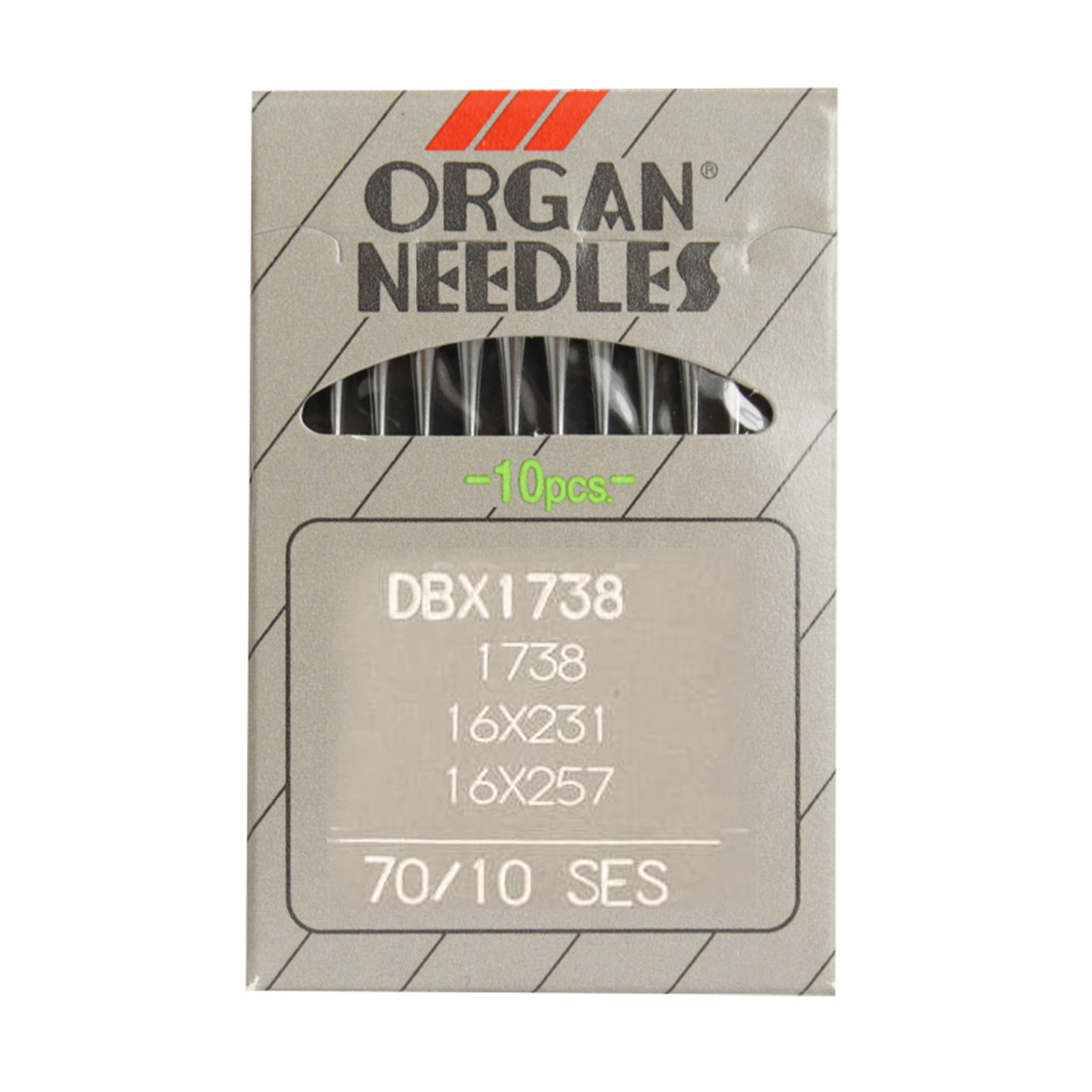 Иглы для промышленных швейных машин Organ, DBx1/70 SES, 10 шт162275Иглы для промышленных швейных машин Organ с маркировкой DBx1 предназначены для прямострочных швейных машин. Иглы используются для пошива трикотажа (SES). Острие игл тонкое, стандартное.Предназначены для машин цепного стежка 10Б, 53, 810 классов и импортных аналогов. В промышленных машинах используются иглы с круглыми колбами, в отличие от игл бытовых машин, у которых колбы плоские. Круглая колба позволяет при наладке машины и установке иглы поворачивать (вращать) иглу, закрепляя ее в нужном положении. Диаметр колбы: 1,64 мм. Длина иглы: 33,9 мм. Номер игл: 70.