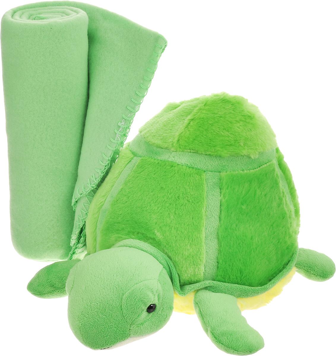Набор Home Queen Черепашка: плед, игрушка, цвет: зеленый67427Набор Home Queen Черепашка состоит из мягконабивной игрушки и флисового пледа желтогоцвета. Мягкий флисовый плед согреет в прохладные вечера и сделает ваш дом уютным. Пледне скатывается и не вызывает аллергии, легко стирается и быстро сохнет. Таким пледом можноуютно укрыться дома или взять с собой в путешествие. Игрушка в виде черепашки изготовлена из приятного на ощупь плюша с мягким синтепономвнутри. Может использоваться как подушка.Набор Home Queen Черепашка - интересный и полезный подарок для ребенка. Плед и игрушкапрекрасно дополнят интерьер детской и порадуют вашего малыша.