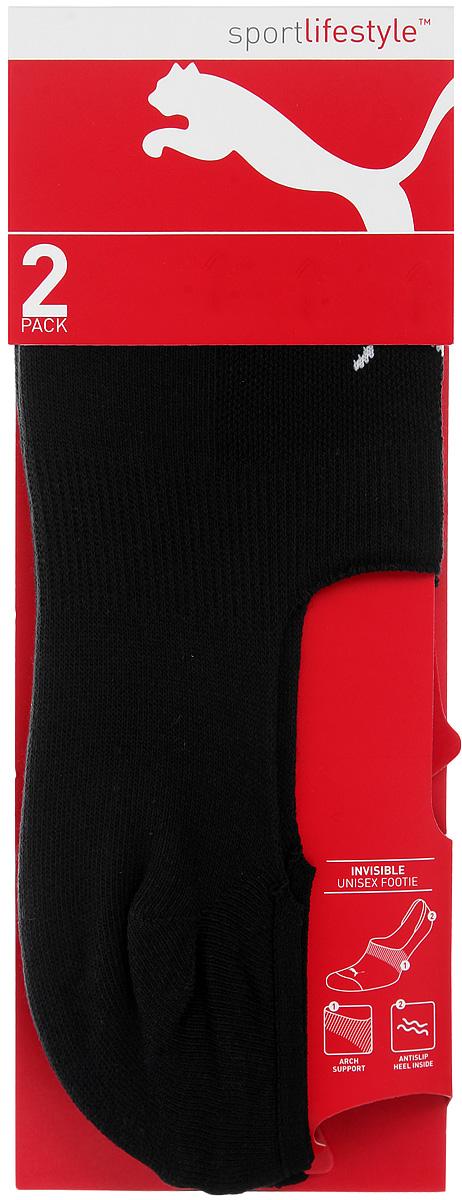 Носки Puma Invisible Footie 2P, цвет: черный, 2 пары. 90624501. Размер 35/3890624501Укороченные носки Puma Invisible Footie 2P, изготовленные из высококачественного хлопкового трикотажа, подходят как для занятий спортом, так и для повседневного ношения. Оформлены носки оригинальным логотипом Puma.Идеальное сочетание практичности, легкости и комфорта.В комплект входят две пары носков.