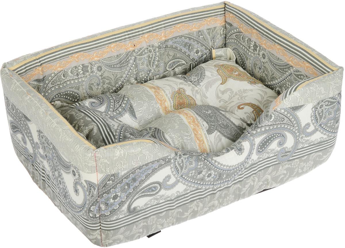Лежак для собак и кошек Гамма, цвет: зеленый, бежевый, 52 х 36 х 21,5 см подставка с мисками для кошек собак гамма 1