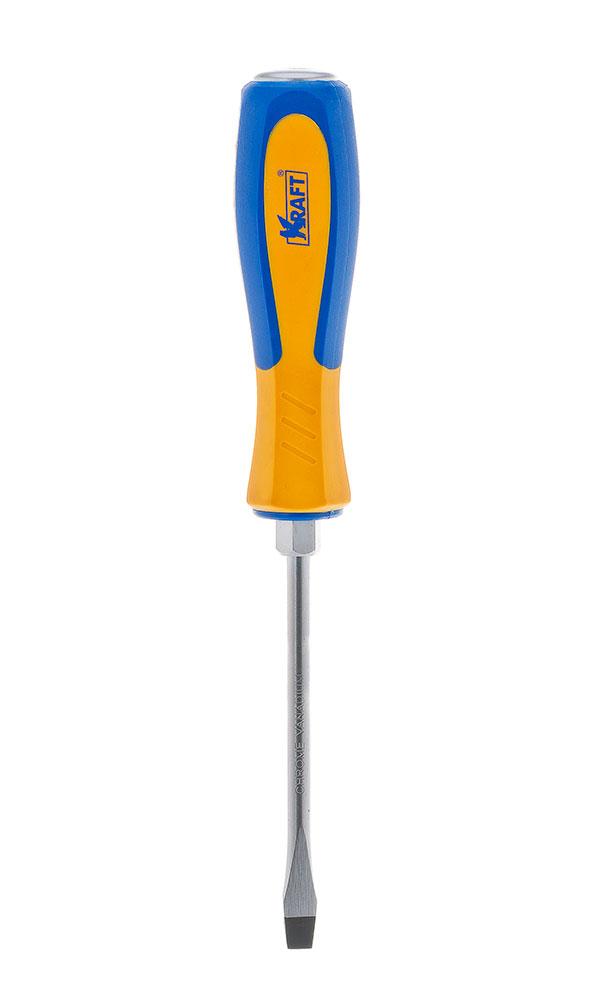 Отвертка усиленная шлицевая Kraft 8х150 КТ 700433КТ 700433- отвертка усиленная под ключ шлицевая 8x150 mm (рукоятка двухкомпонентная, намагниченный наконечник, Cr-V)