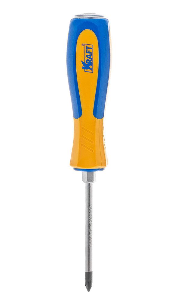 Отвертка усиленная крестовая Kraft PH2х100 КТ 700435КТ 700435- отвертка усиленная под ключ крестовая 2x100 mm (рукоятка двухкомпонентная, намагниченный наконечник, Cr-V)