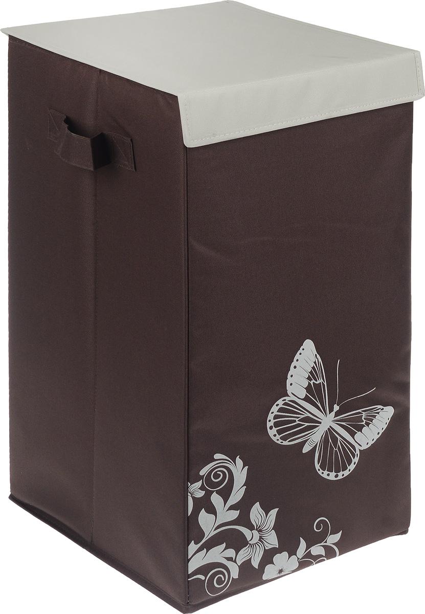 Корзина для белья Hausmann Бабочка, складная, 35 x 35 x 64 см корзина для белья eva складная цвет серый 43 х 50 х 63 см