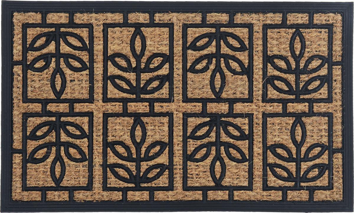 Коврик придверный SunStep Листочки, 75 х 45 см32-091Оригинальный придверный коврик SunStep Листочки надежно защититпомещение от уличной пыли и грязи. Он изготовлен из жесткого кокосовоговолокна и нескользящей резиновой основы. Волокна кокоса неподвержены гниению и не темнеют, поэтому коврик сохранит привлекательныйвнешний вид на долгое время.