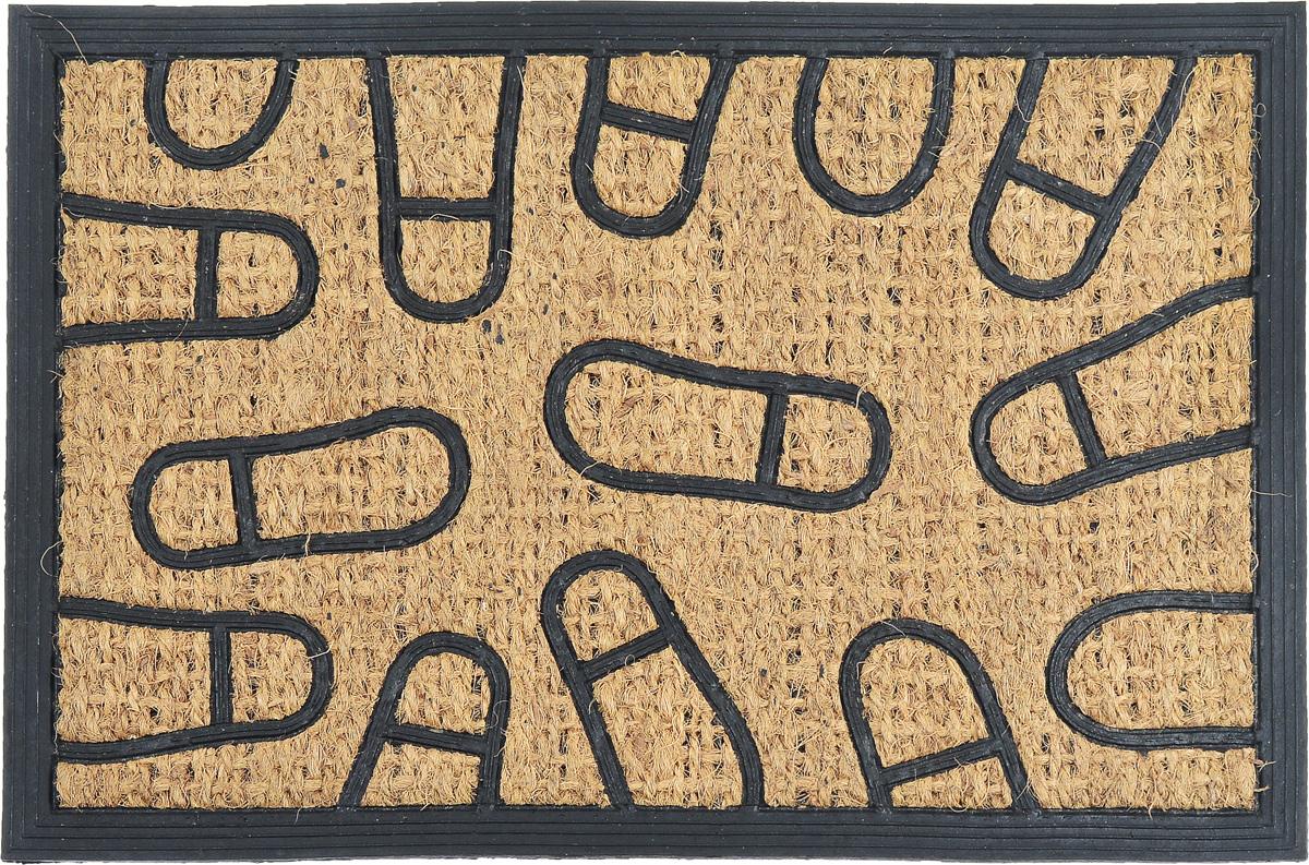"""Оригинальный придверный коврик SunStep """"Следы"""" надежно защитит  помещение от уличной пыли и грязи. Он изготовлен из жесткого кокосового  волокна и нескользящей резиновой основы. Волокна кокоса не  подвержены гниению и не темнеют, поэтому коврик сохранит привлекательный  внешний вид на долгое время."""