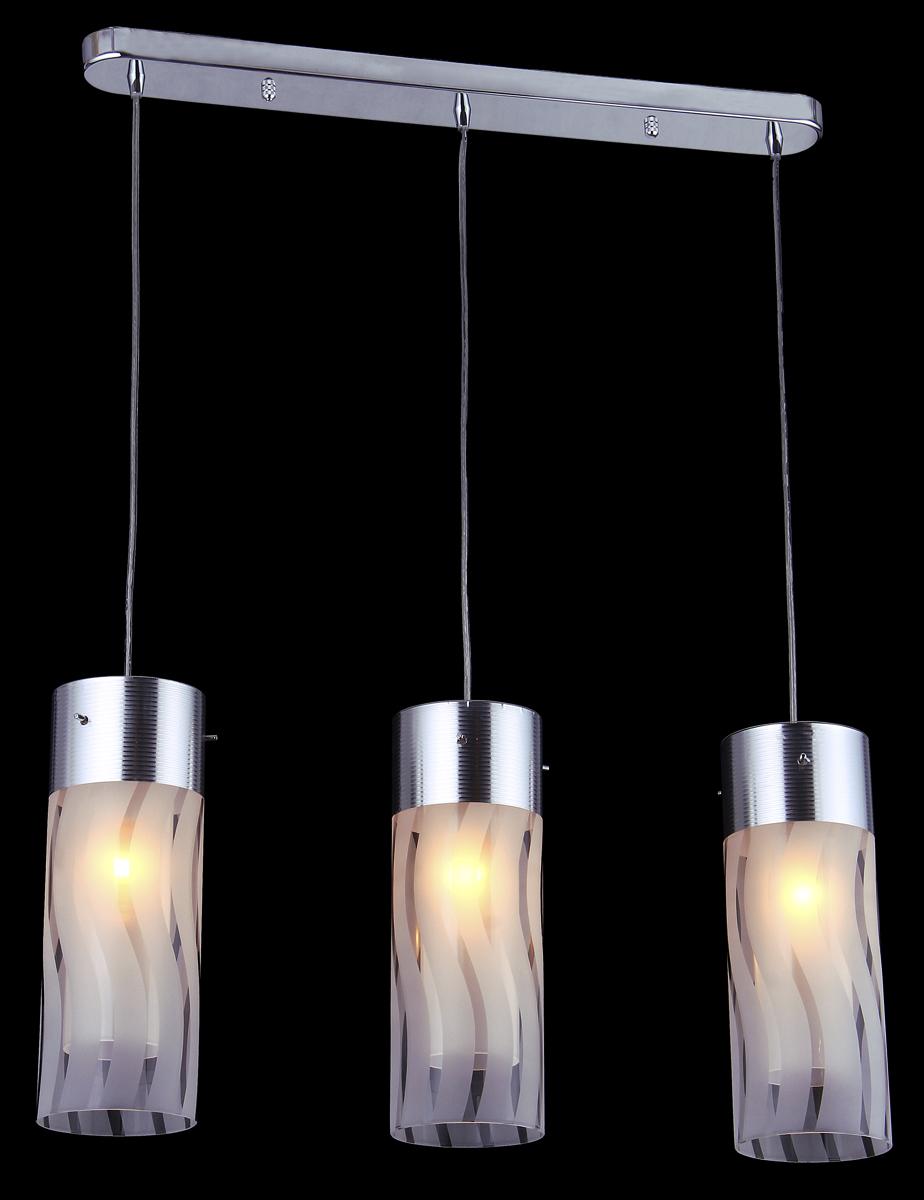 """Светильник подвесной """"Natali Kovaltseva"""", выполненный в стиле модерн, станет украшением вашей комнаты и оригинально дополнит интерьер. Изделие крепится к потолку. Такой подвес универсален и отлично подойдет для освещения кабинета, столовой, кухни, спальни. Изделие выполнено из металла с хромированным покрытием и снабжено 3 стеклянными плафонами на тросах. В коллекциях Natali Kovaltseva представлены разные стили - от классики до хайтека. Дизайн и технологическая составляющая продукции разрабатывается в R&D центре компании, который находится в г. Дюссельдорф, Германия. При производстве продукции используются высококачественные и эксклюзивные материалы: хрусталь ASFOR, муранское стекло, перламутр, 24-каратное золото, бронза. Производство светильников соответствует стандарту системы менеджмента качества ISO 9001-2000. На всю продукцию ТМ Natali Kovaltseva распространяется гарантия."""