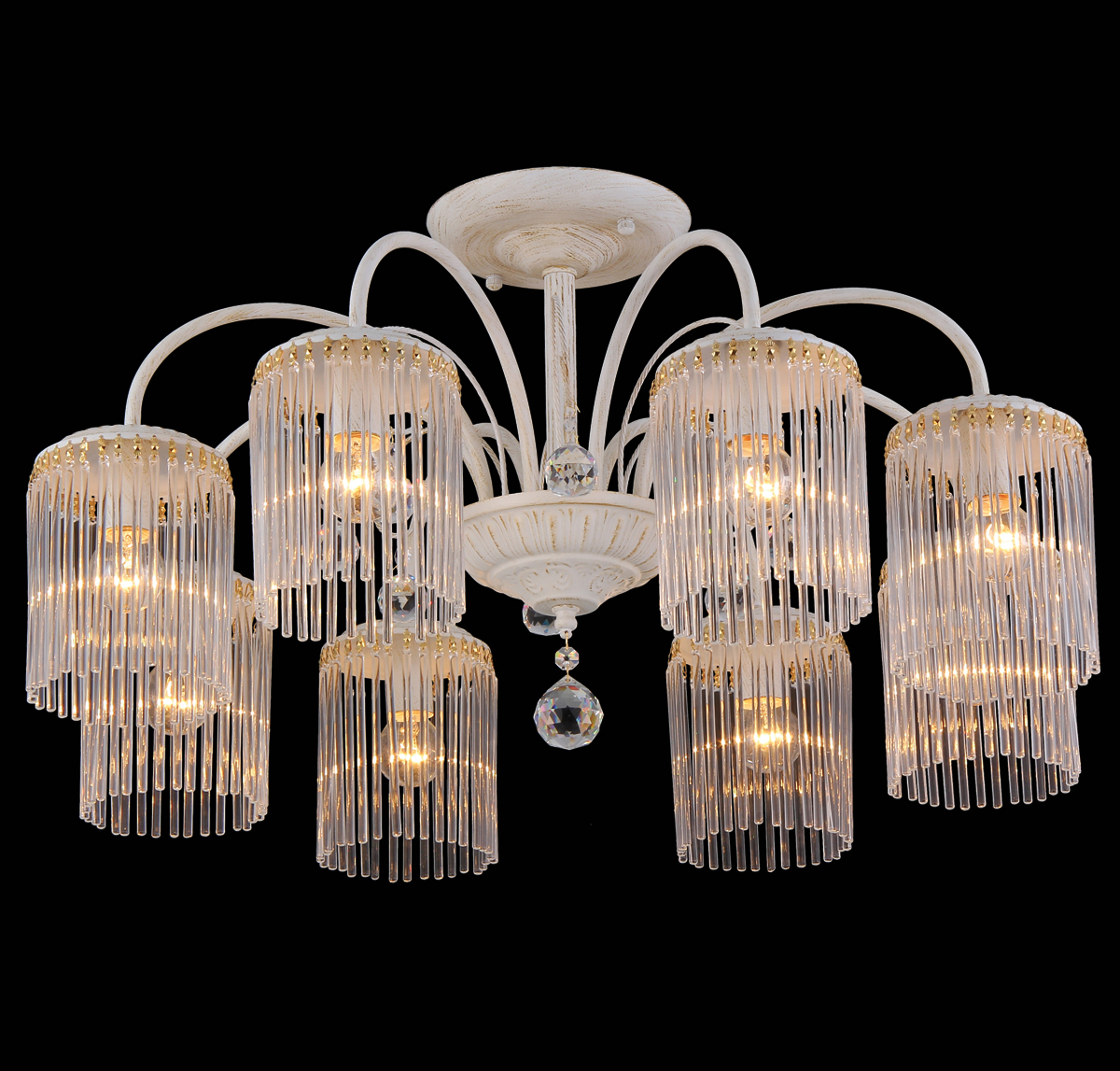 Люстра Natali Kovaltseva Ivory, 8 x E14, 60W. 11397/8COLBIA 11397/8C GOLD IVORYЛюстра Natali Kovaltseva, выполненная в классическом стиле, станет украшением вашей комнаты и изысканно дополнит интерьер. Изделие крепится к потолку. Такая люстра отлично подойдет для освещения кабинета, столовой, спальни или гостиной. Люстра выполнена из металла с матовым никелированным покрытием и дополнена хромированными элементами. Изделие оснащено 8 стеклянными плафонами, декорированными полосками и рельефом по краю.