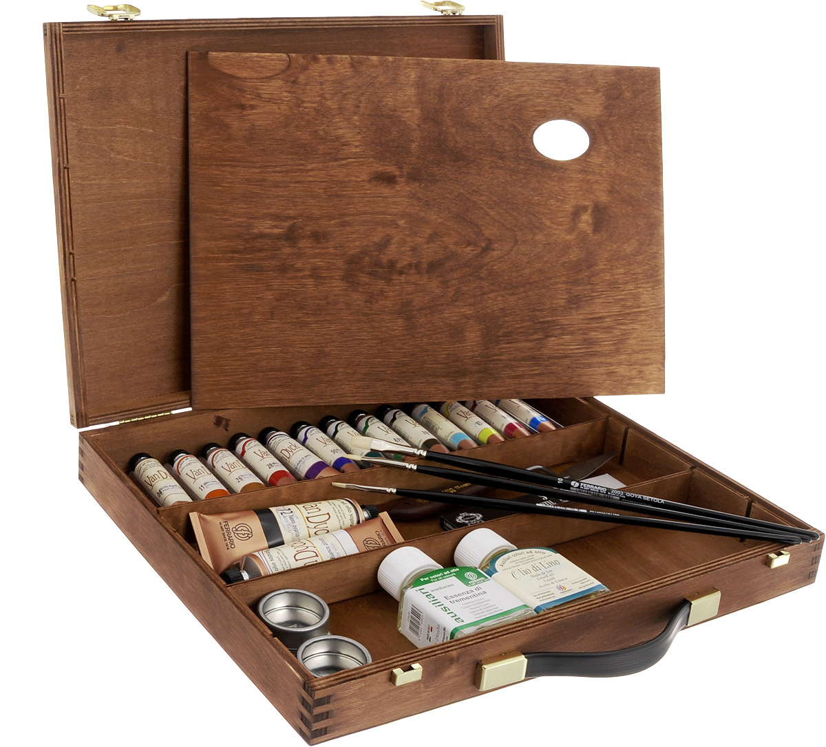 Набор масляных красок Ferrario Van Dyck, в деревянном кейсе, 24 предметаAV1122COНабор Ferrario Van Dyck включает 15 тюбиков масляных красок разных цветов, флакон с льняным маслом и флаконс разбавителем (эссенция терпентина), двойную металлическую масленку, деревянную палитру, 3 кисти №6, № 2, №10, мастихин, набор углей для рисования. Для хранения предметов набора предусмотрен деревянный кейс. Масляные краски рекомендуется использовать на холсте, картоне, бумаге и дереве. Основой масляных красокслужат натуральные пигменты и хороший связующий материал, что создает удивительную чистоту цветов иоттенков, которая не теряется даже при смешивании. Краски обладают отличной светостойкостью, имеютповышенное содержание и отличное качество натуральных и синтетических пигментов.Такой набор станет замечательным подарком для художника.Объем красок: 20 мл.Объем белой и черной красок: 60 мл.Длина кистей: 29,5 см, 30 см, 30,5 см.Объем растворителя и масла: 75 мл.Длина мастихина: 21 см.Размер рабочей части мастихина: 5,5 х 1,9 см.Размер палитры: 37 х 28 см.Размер кейса: 38 х 30 х 6 см.