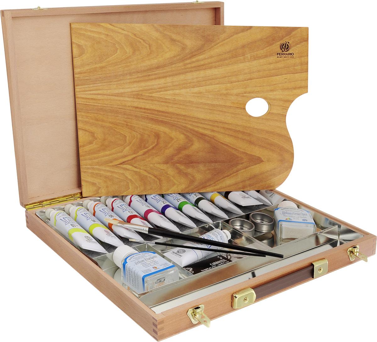 Набор акриловых красок Ferrario  Acrilic Master , в деревянном кейсе, 19 предметов -  Краски